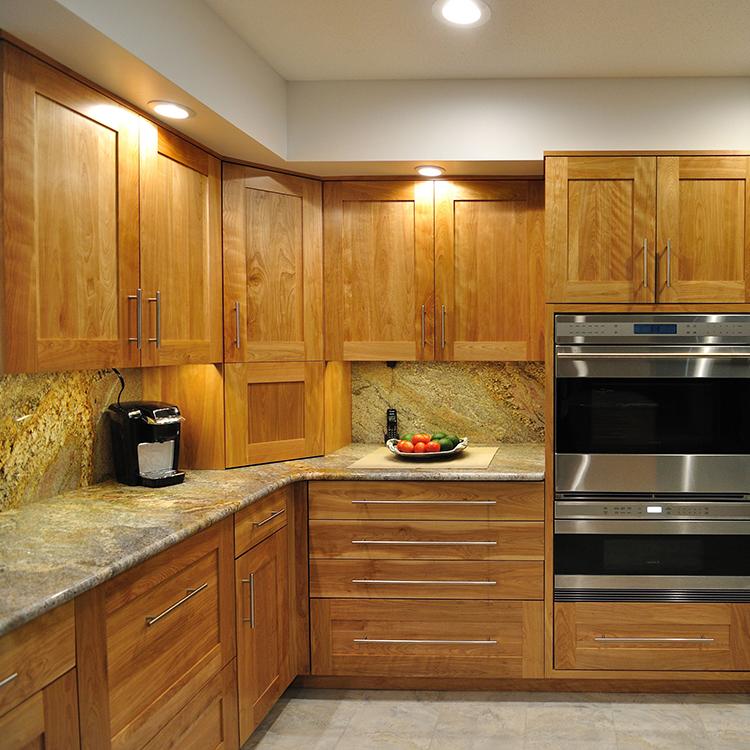 Flat Recess Panel Wide Framed Doors, Natural Red Birch, Flush Inset Appliances