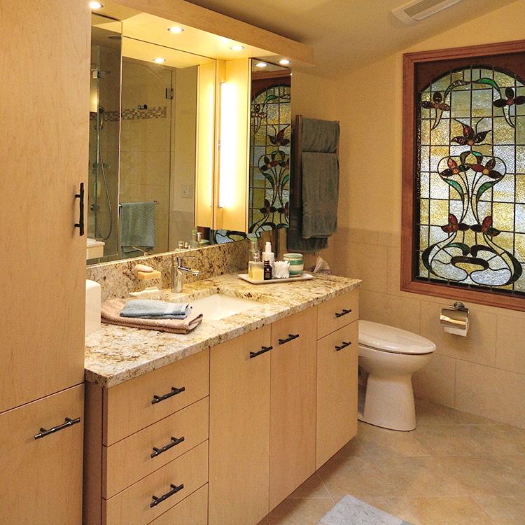 Flush Maple Veneer Doors, Twig Pulls, Granite Top, Built-In Medicine Cabinets with Valence