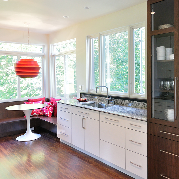 White Acrylic Faced Cabinets, Integrated Dishwasher Right Of Sink, Walnut Pantry