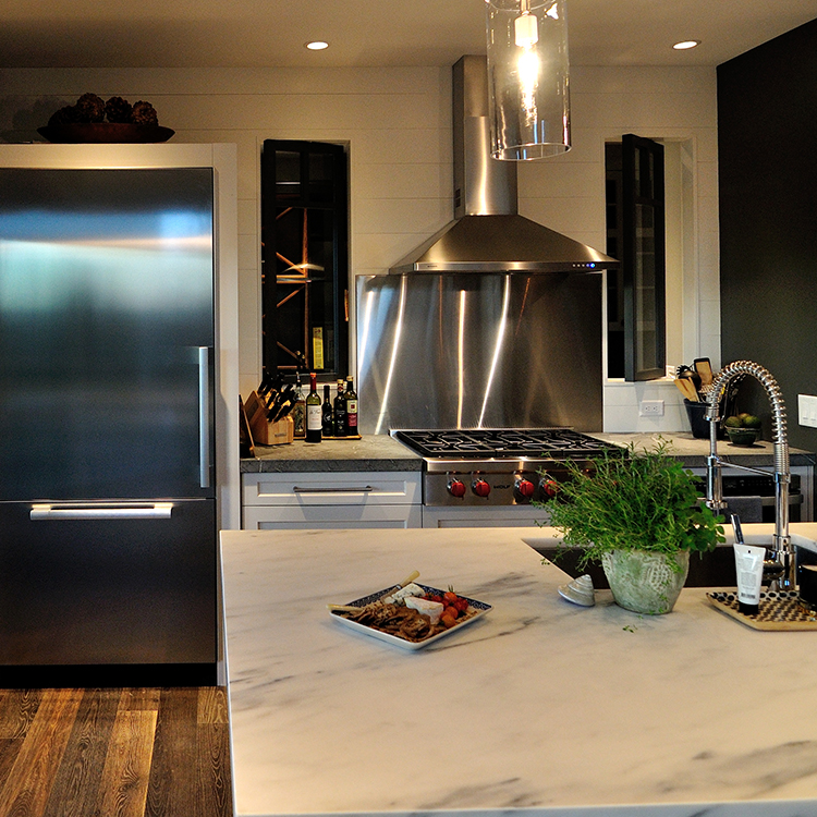 Refrigerator Surround, Range Front Wolf Cooktop, Stainless Backsplash, Painted Wood Wall