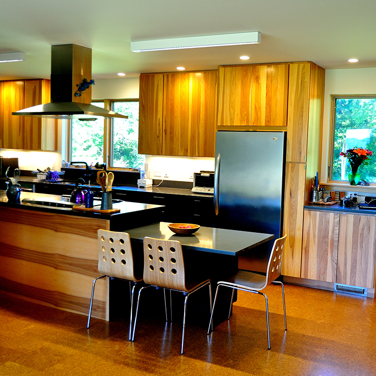 Island Hood, Platinum Painted Island And Lower Cabinetry, Hickory Cabinetry