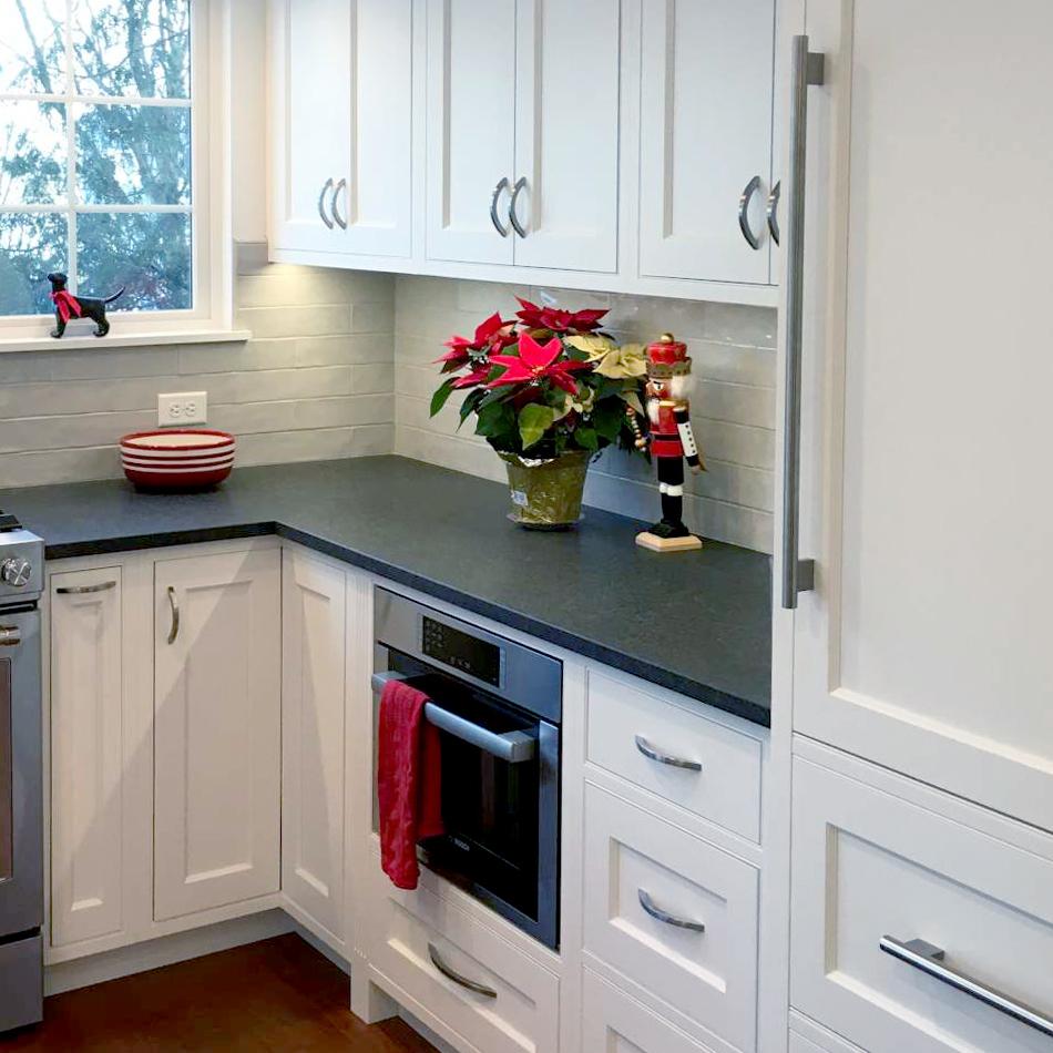 Honed Black Pearl Granite Countertops,Flush-installed Bosch Speed-oven