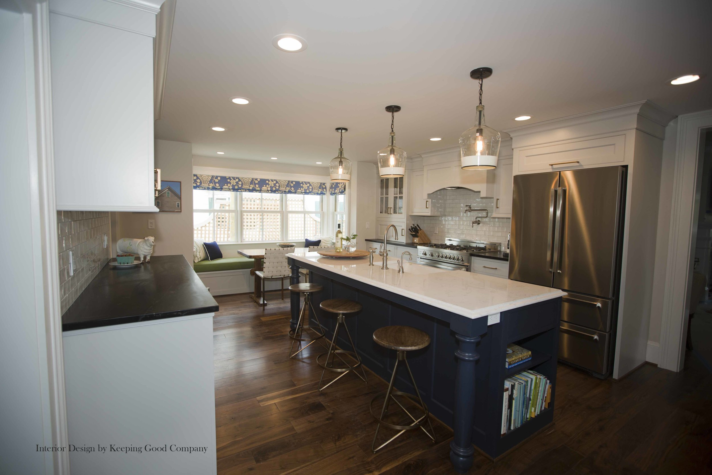 Built-in Refrigeration,Built-in Bench Seating with Paneled Front, Moody Blue Island Painted Cabinetry