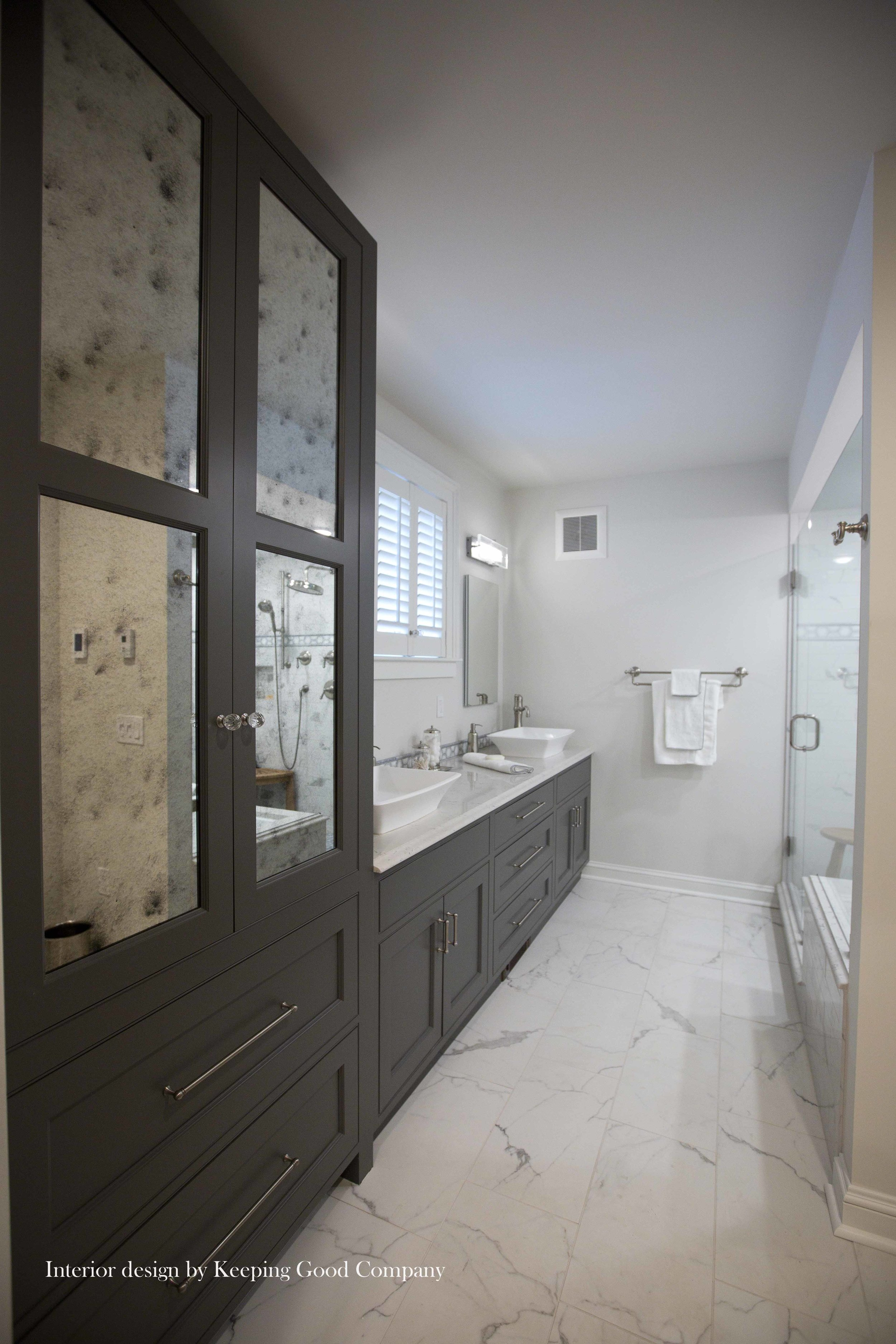 Linen Cabinet with Mirrored Glass Doors, Slate Painted Cabinetry