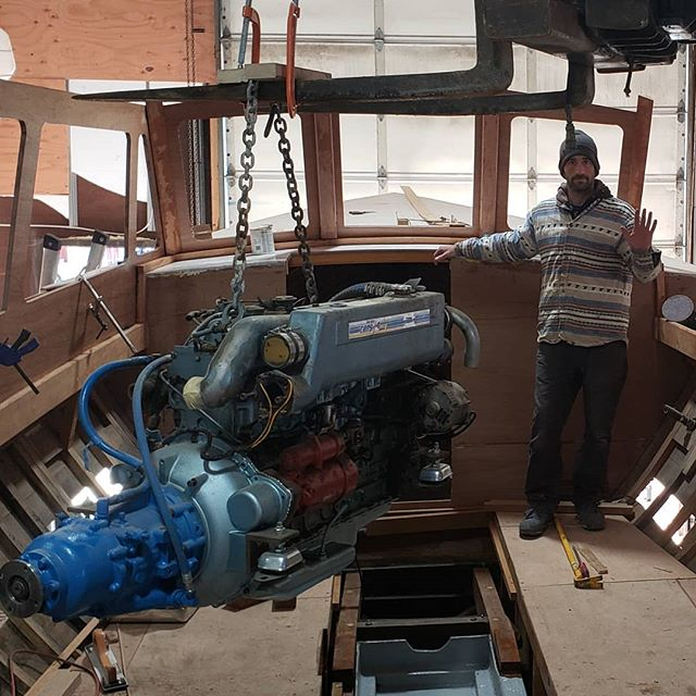 Helping our friends @cascobaycharters re-install the engine on the Marie L , cant wait to see the end product 9f this full restoration of a 70 year old wood work boat! . #woodboats #perkins #boatyard #mariel