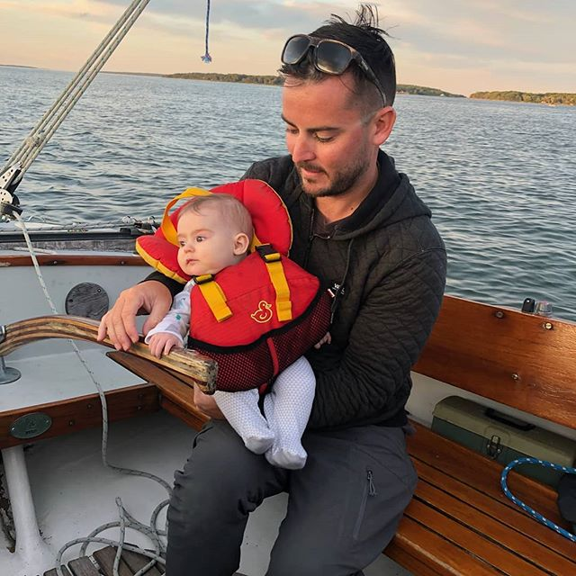 Captain Kyle taking Isla out for her first sail! Such a perfect evening on our Pearson Ensign.