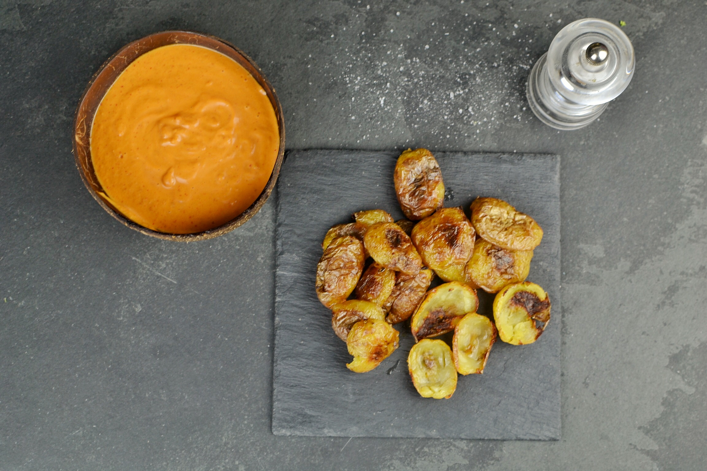 potato skin chips and kimchi mayo