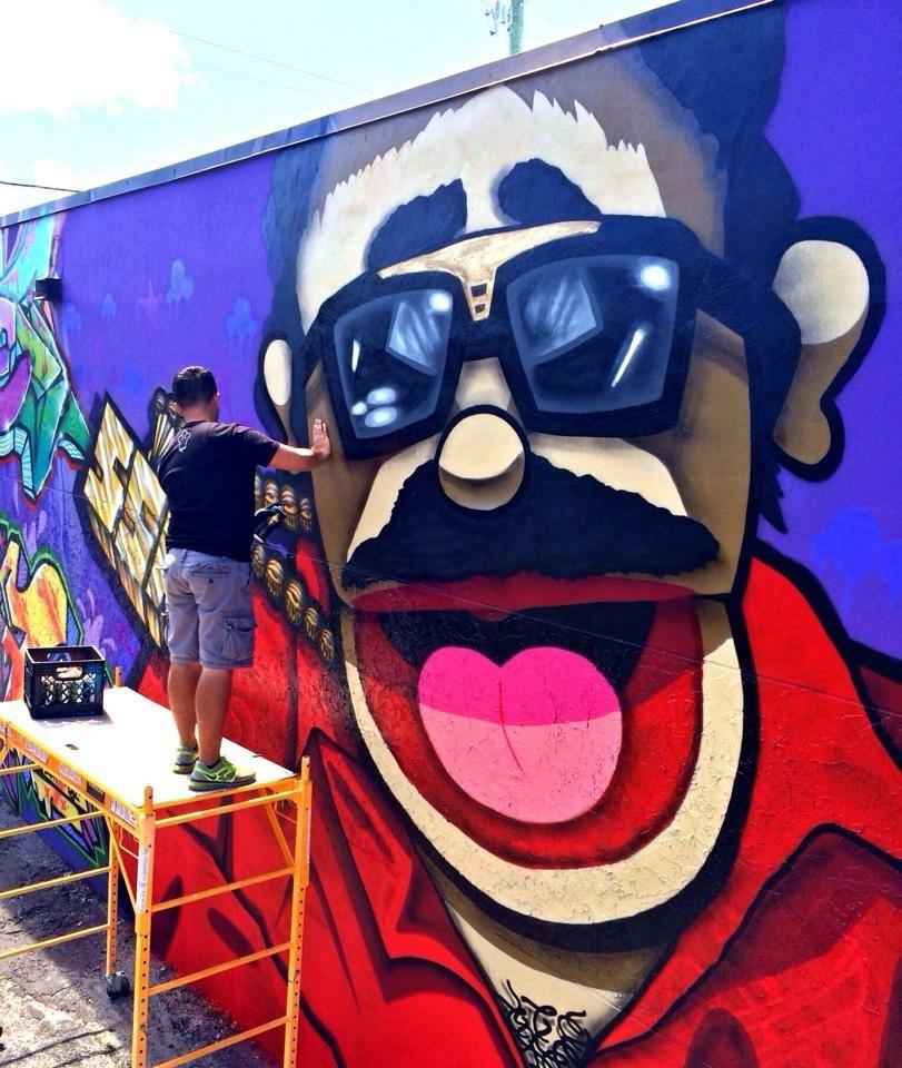 Pepe Billete music video backdrop mural Wynwood, Fl