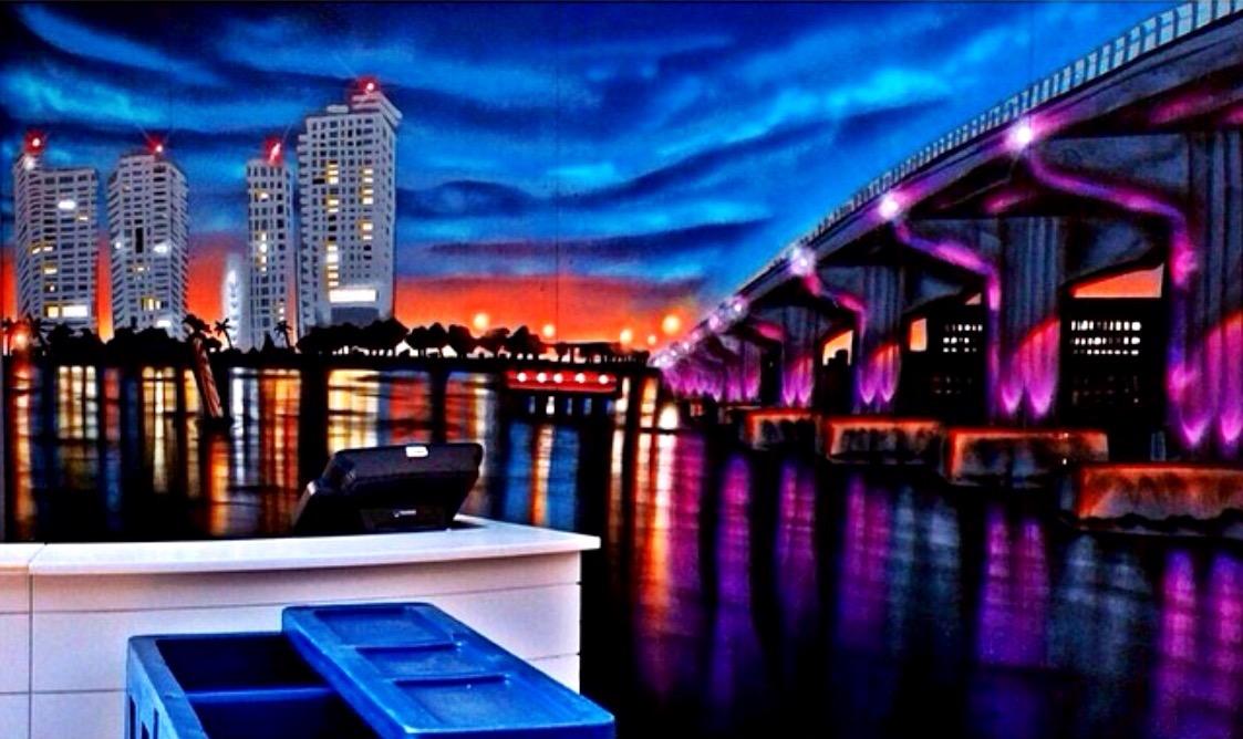Shelborne Wyndham Grand Hotel poolside bar mural Miami Beach, Fl