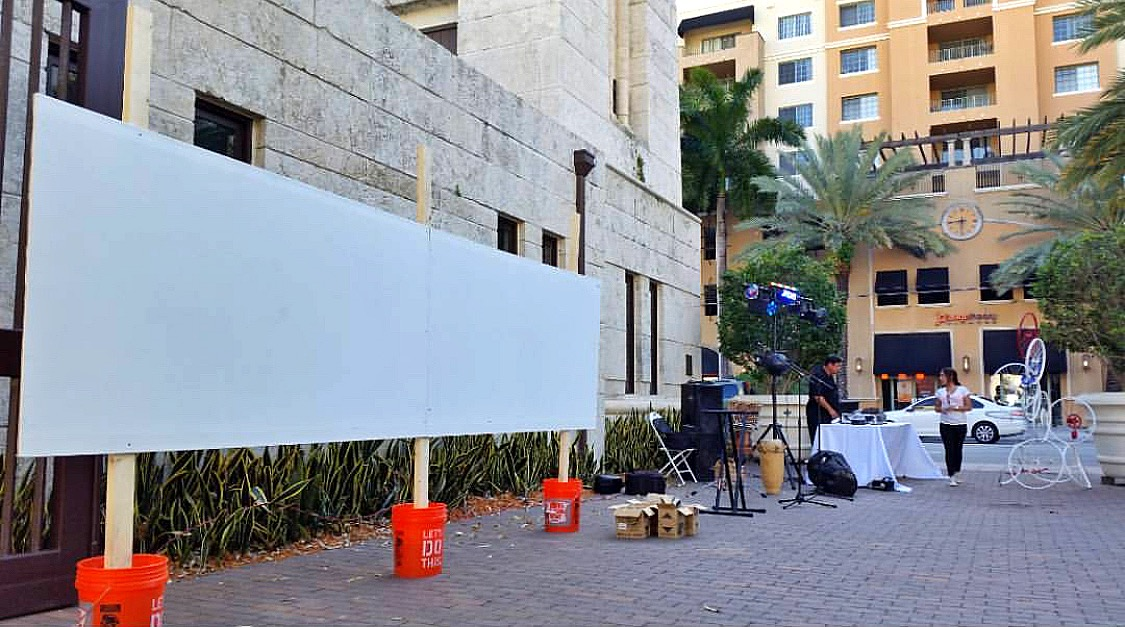 Live painting setup at the Coral Gables Museum for the Flying High for Haiti Fundraiser event.    Envision what you would like painted for your next event!