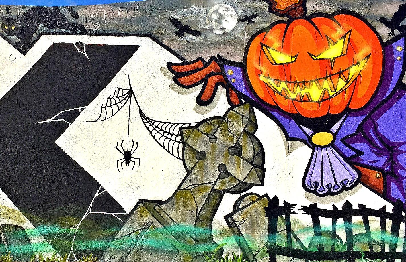 Halloween mural for Wynwood Fear Factory event by Diskolab Wynwood, Fl