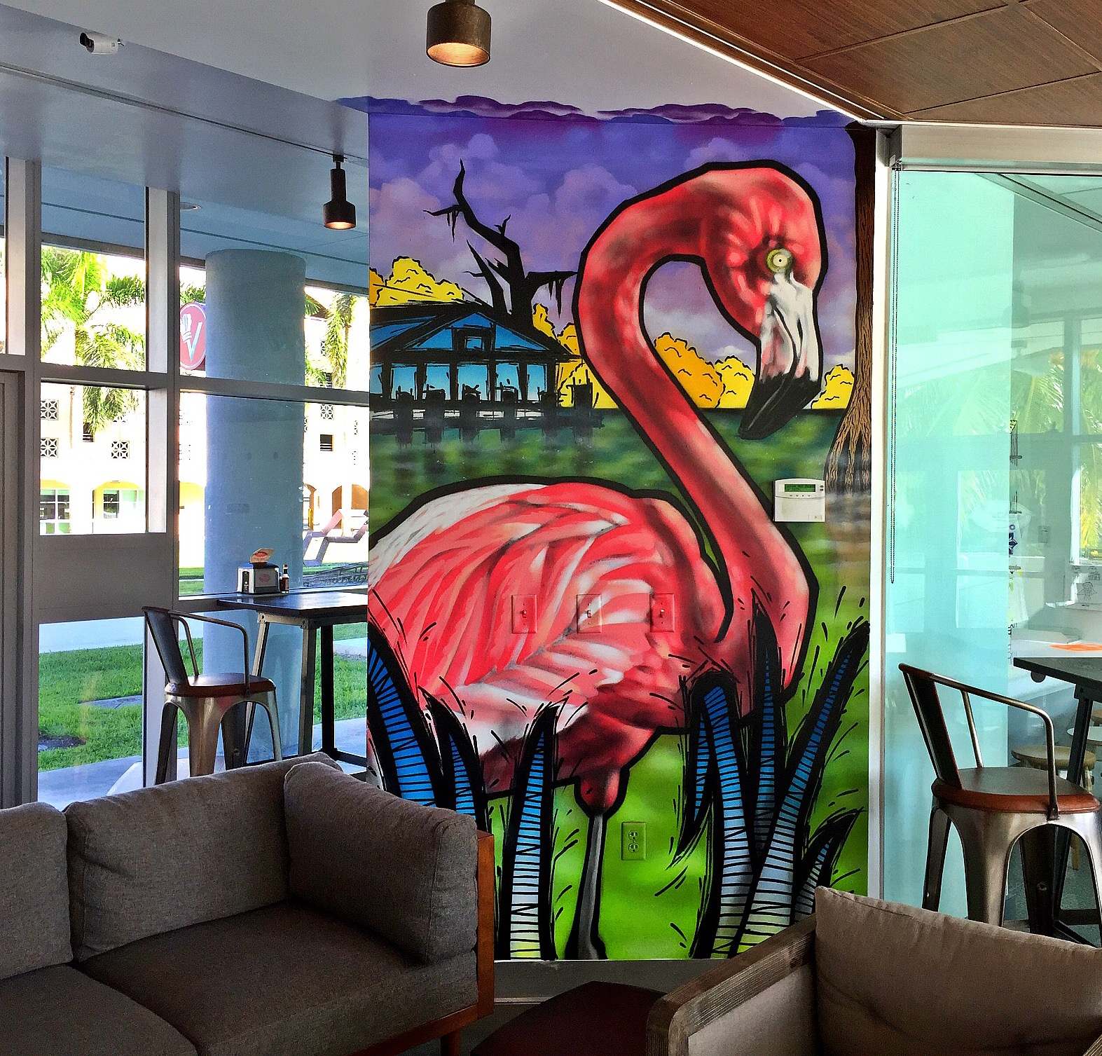 Frost Art Museum mural for Vicky's cafe Sweetwater, Fl