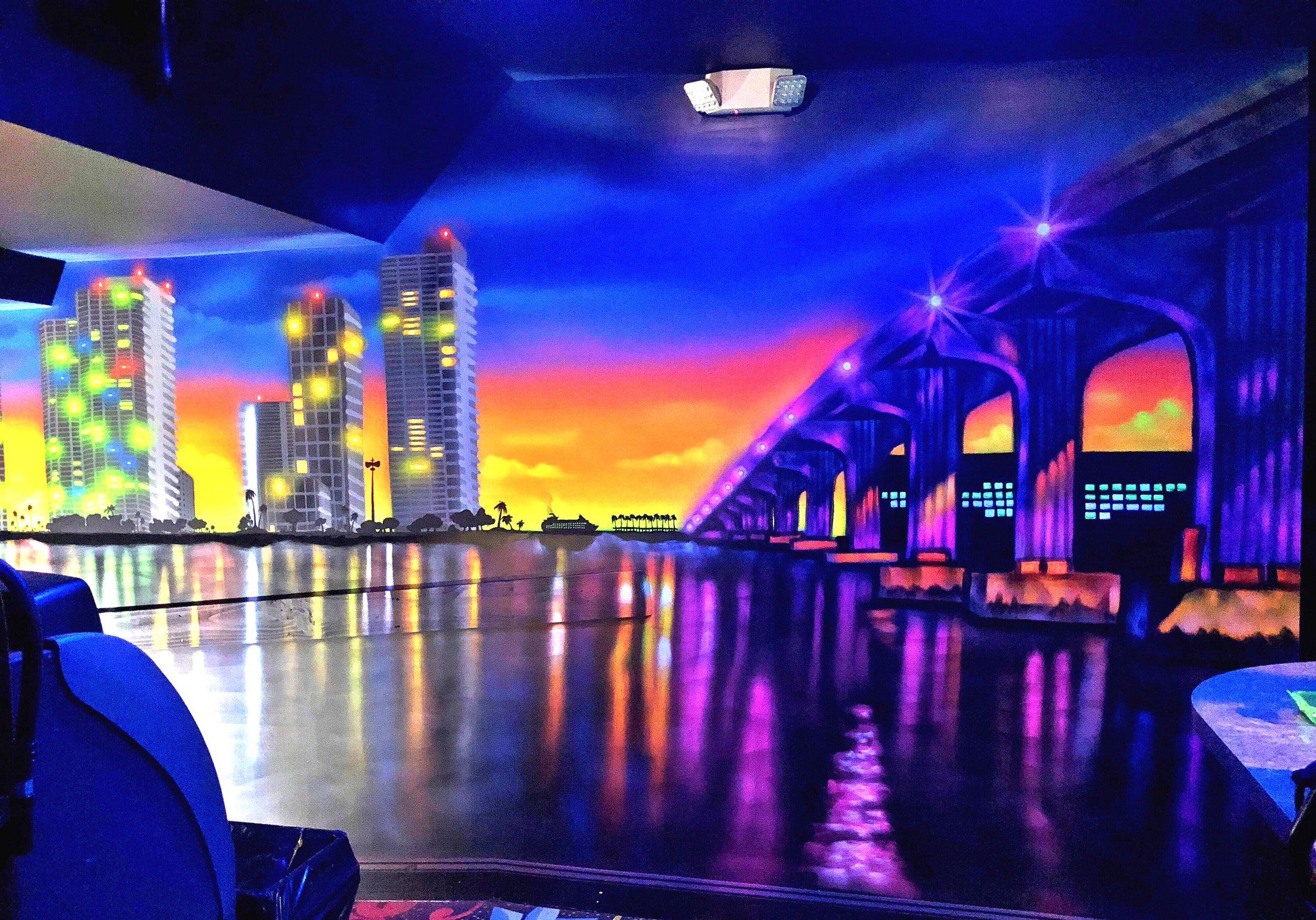 BT's Gentlemen's Club glow in the dark Mural