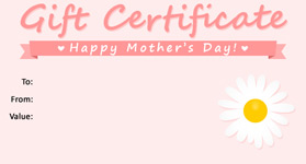 * Sample gift certificate. Design is subject to change.