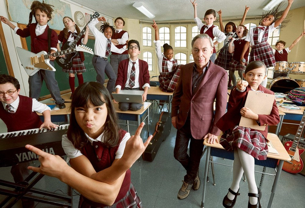 Andrew Lloyd Weber and the cast of School of Rock for Vanity Fair