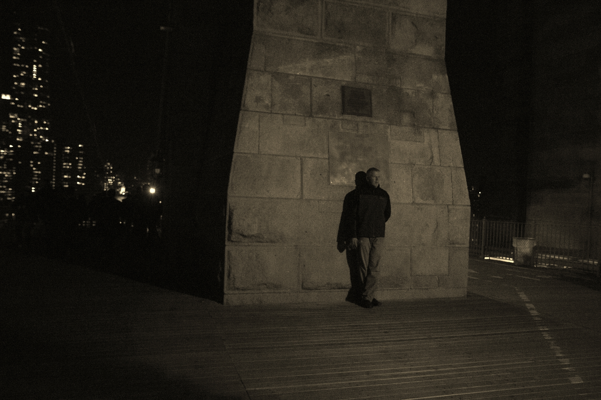Just a man on the Brooklyn Bridge. But he seemed to be posing, so I took some pics. ;)