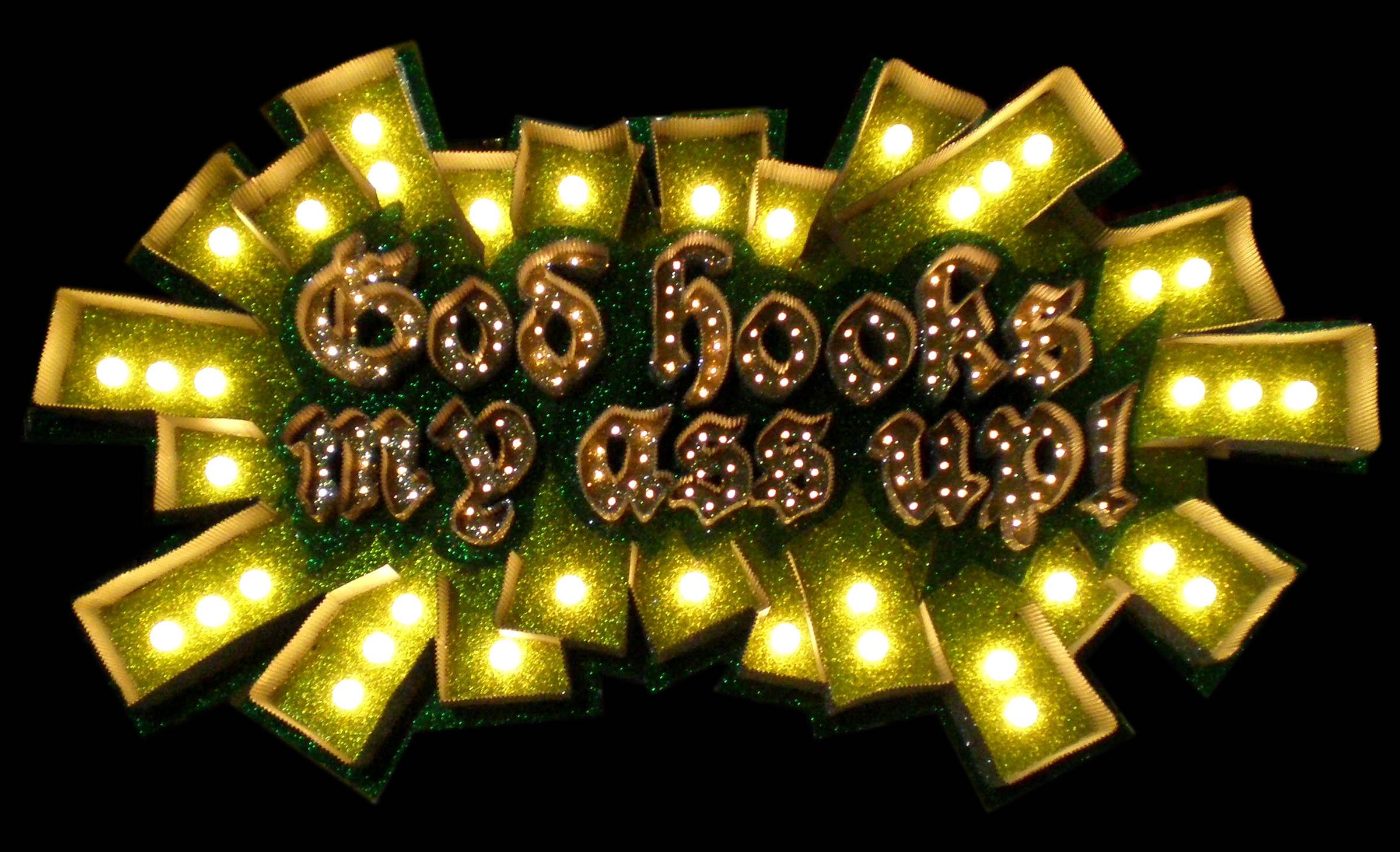 """""""God Hooks My Ass Up!"""" 2009, Cardboard, Glitter, Lights"""