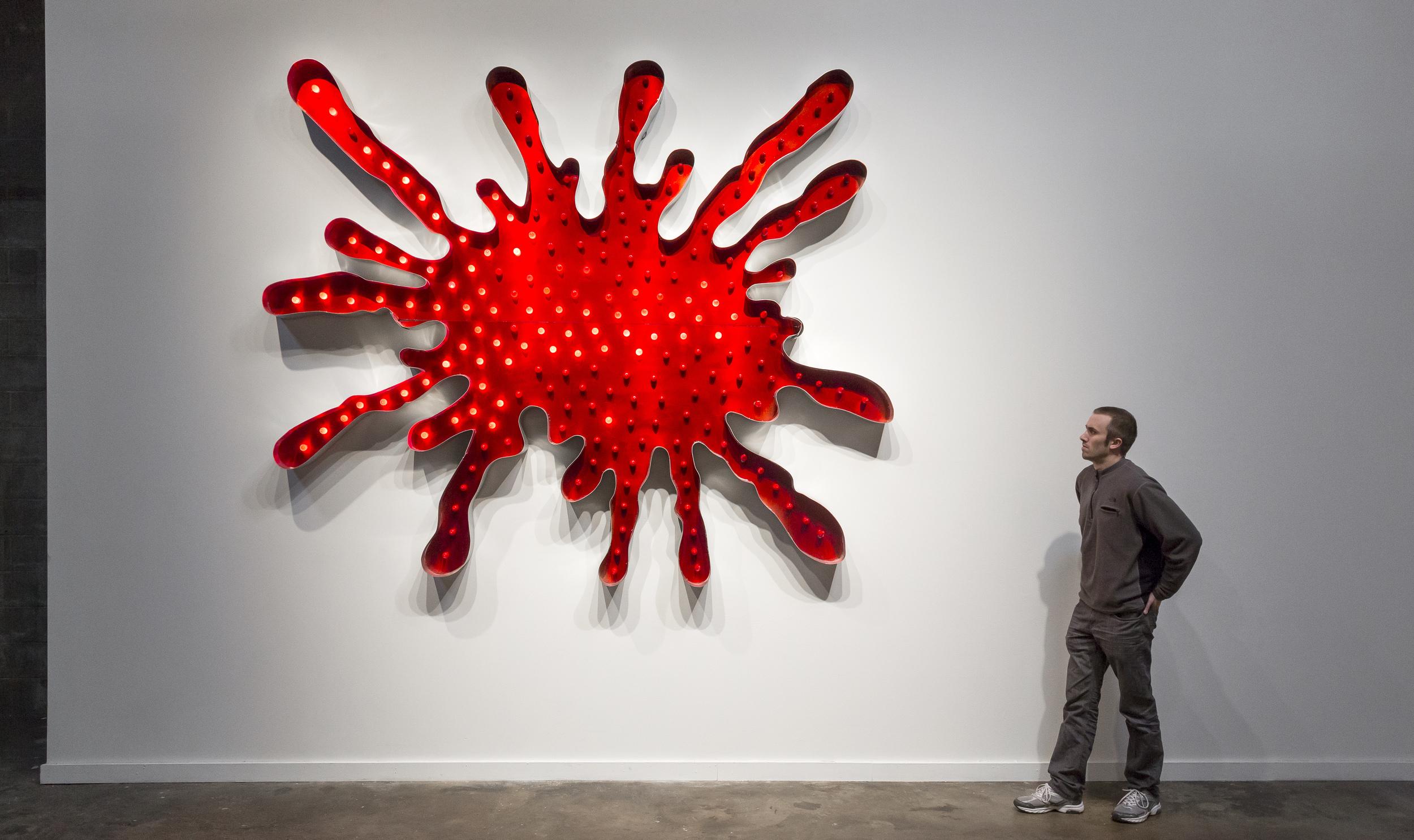 """Blood Splatter"" 2013, Aluminum, Lights"