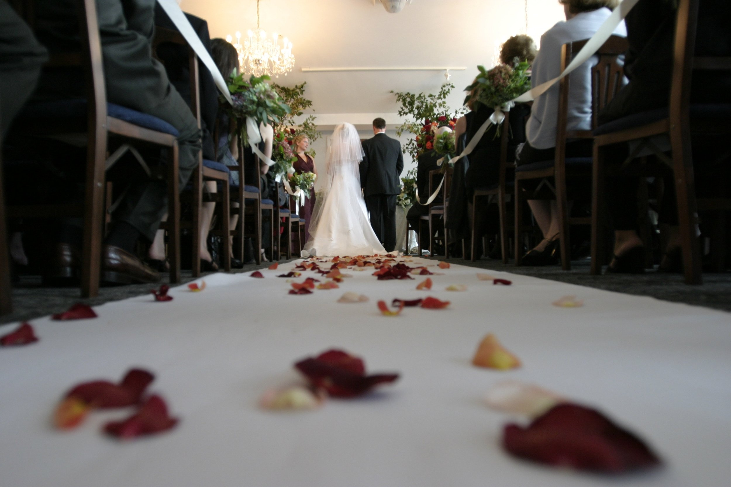 Weddin Ceremony Bridge Groom Aisle Rose Petals.jpg