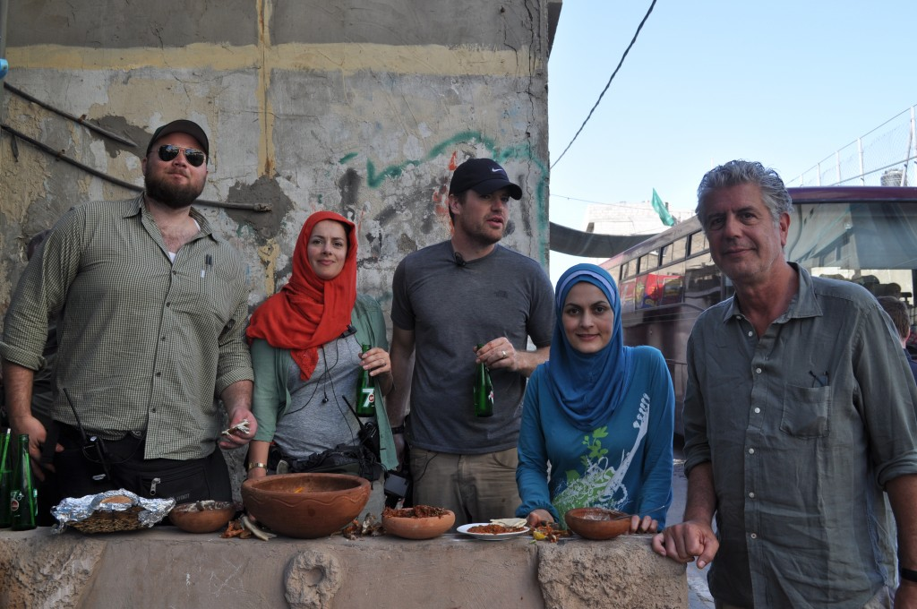 With the production crew, and Bourdain (right); Beach Camp, Gaza Strip, June 2013.