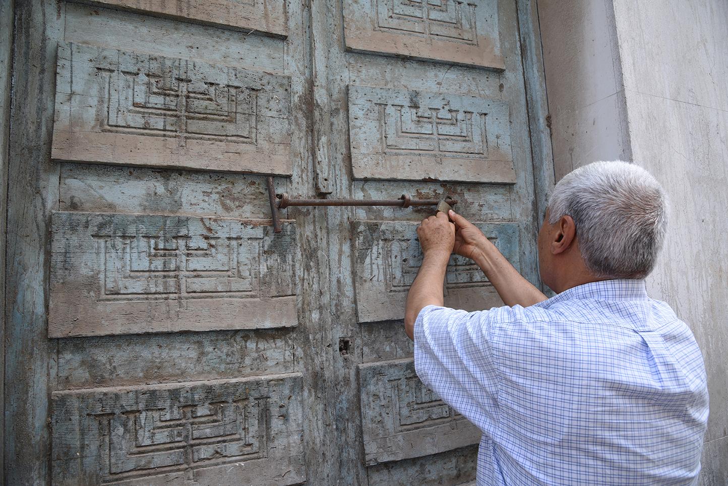 Hafsia synagogue front door. Tunis, Tunisia