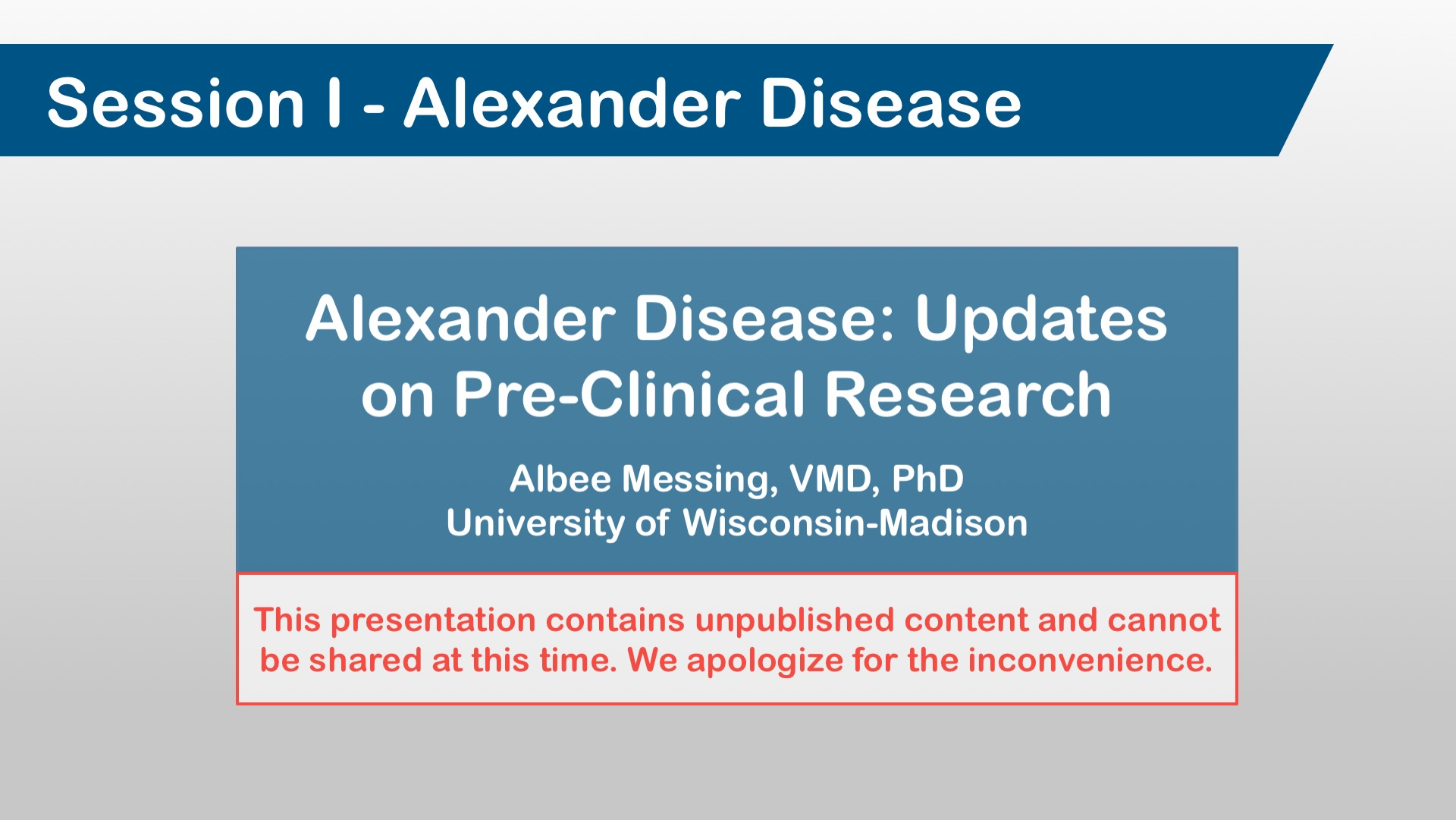 Alexander Disease: Updates on Pre-Clinical Research