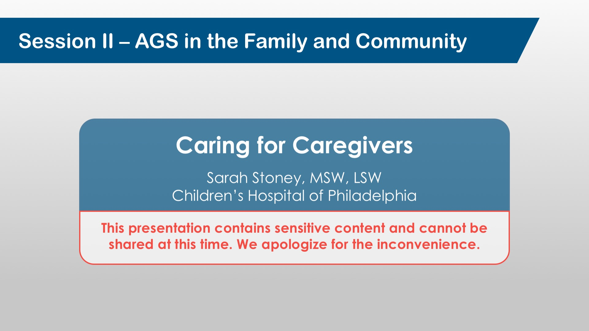 Caring For Caregivers*