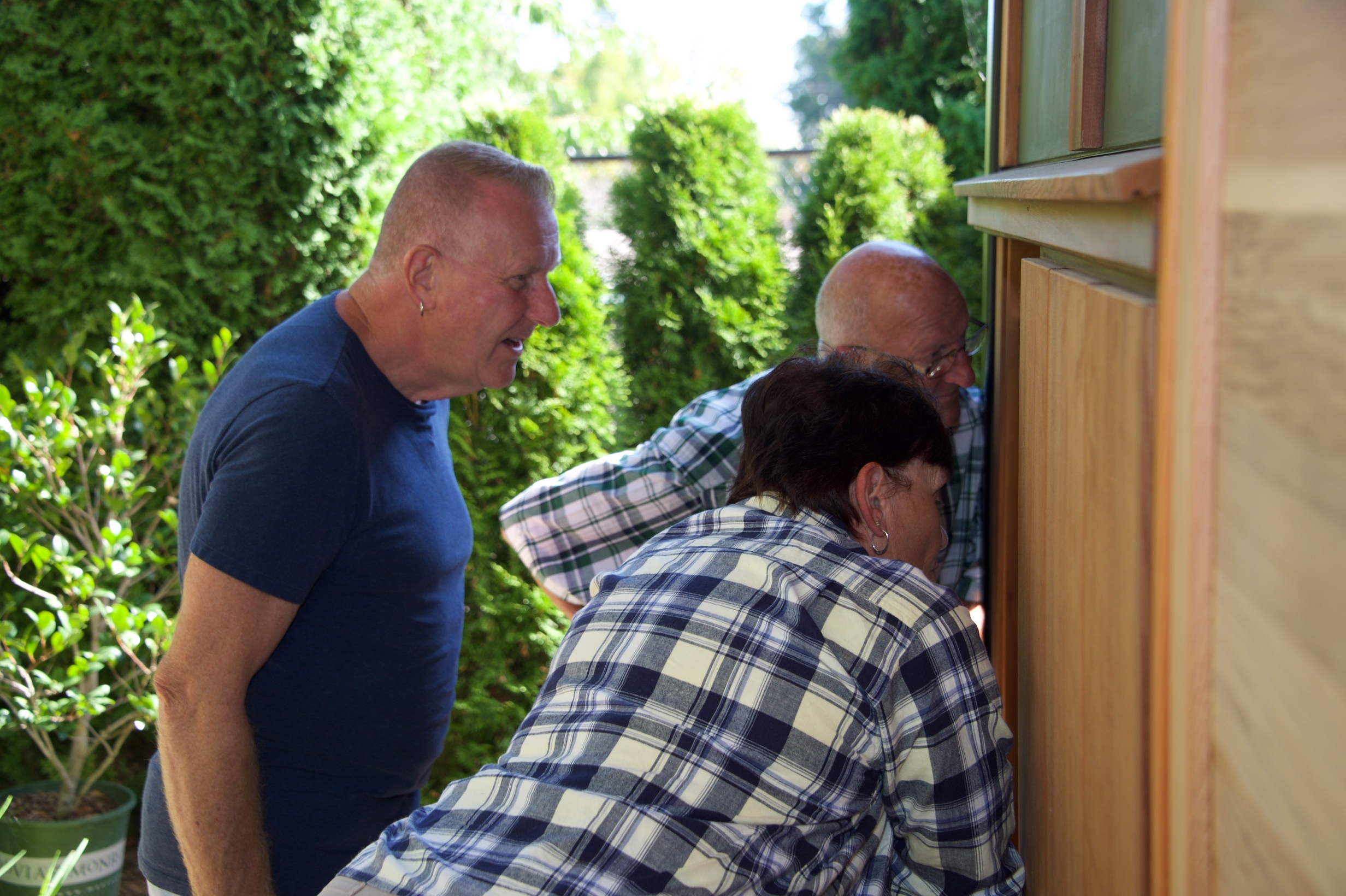Bill's sister, Sorena and her husband Wayne, discover the nearly finished tea house.