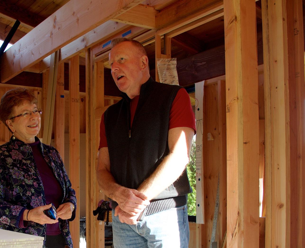 June Moriyasu and Bill Cook discuss design of the tea house.
