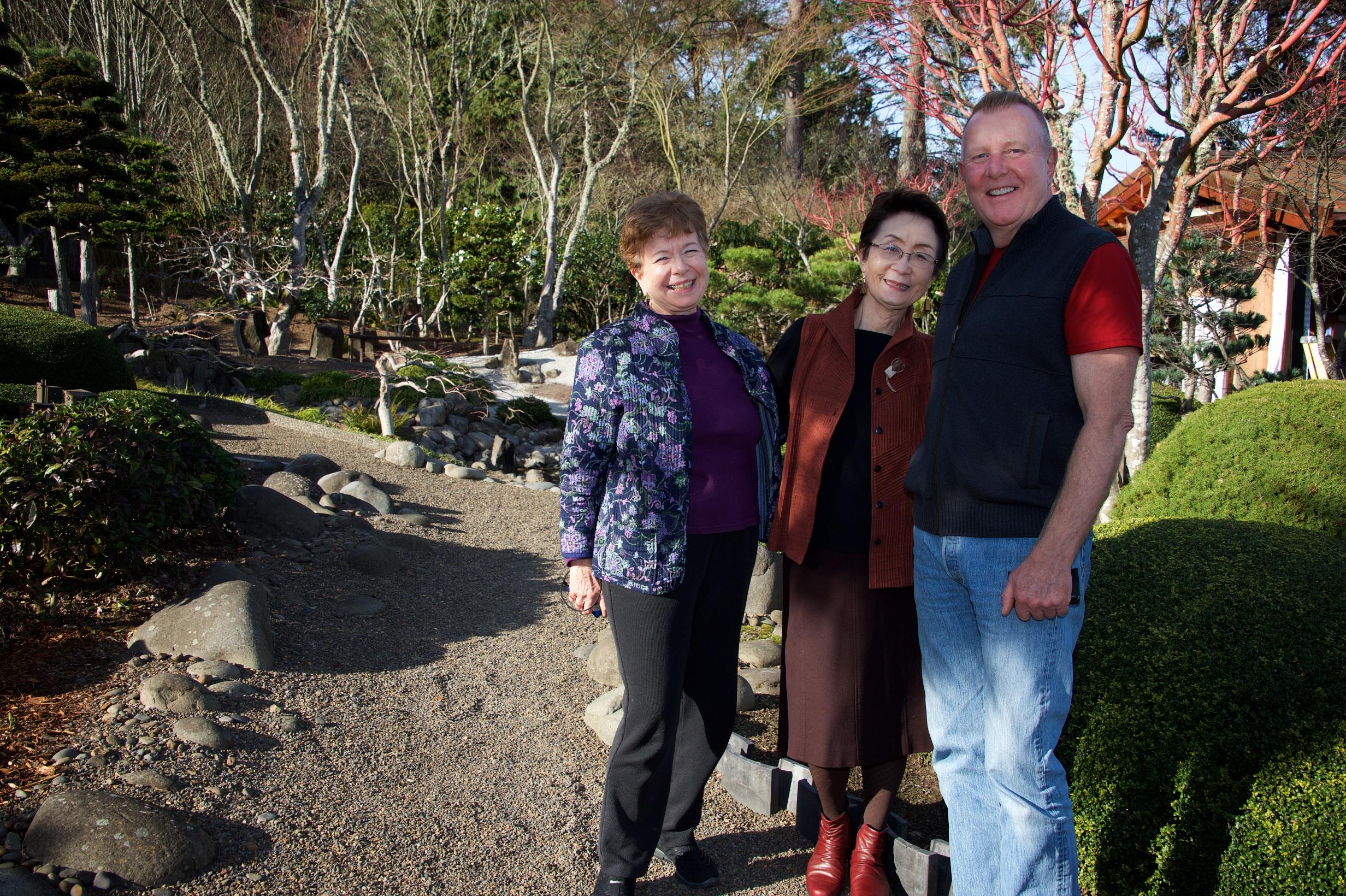 Urasenke School tea masters June Moriyasu and Kimiko Gunji with Bill Cook.