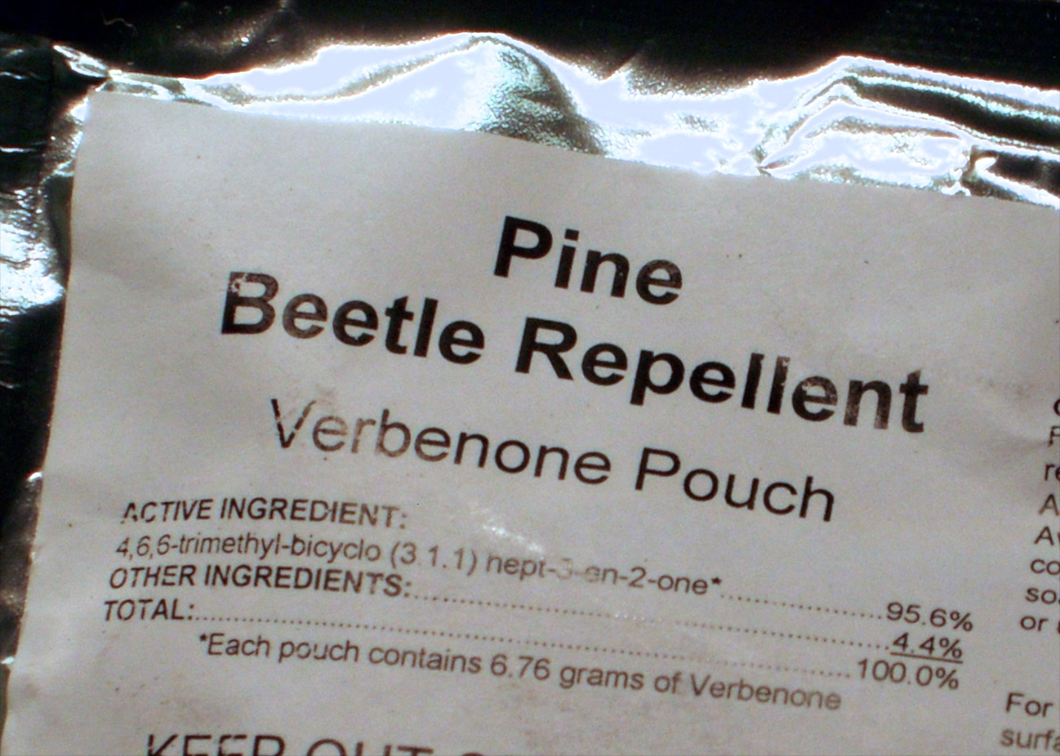 Label on package of 10 pouches of verbenone