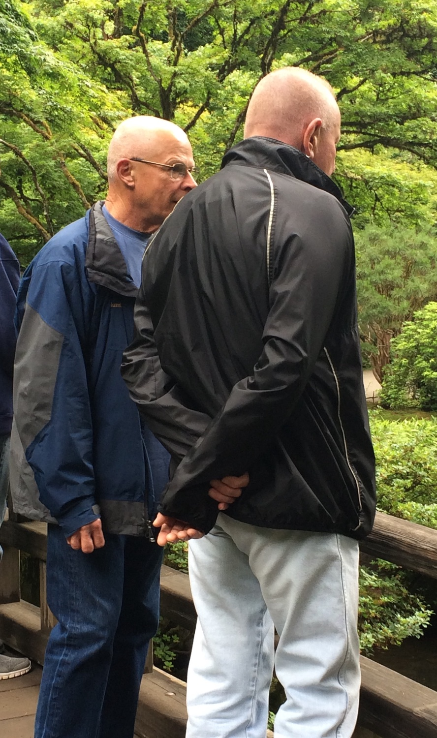 Gwil Evans and Bill Cook at Portland Japanese Garden.    (Photo by Mike Fisher.)