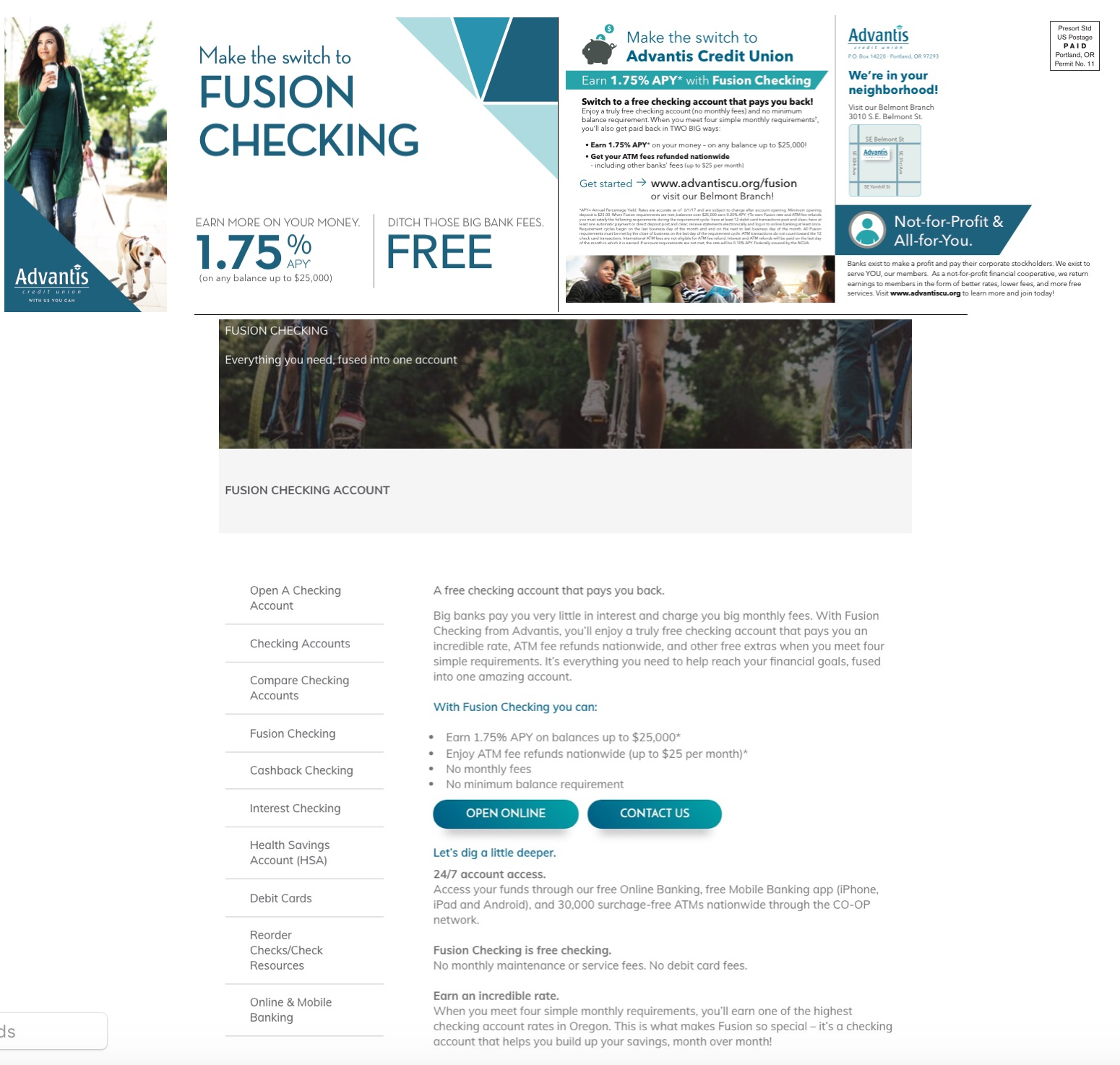 Top:  Fusion Checking mailer front & back.  Download this asset.   Bottom:  Excerpt of  Fusion Checking landing page . Download this asset.