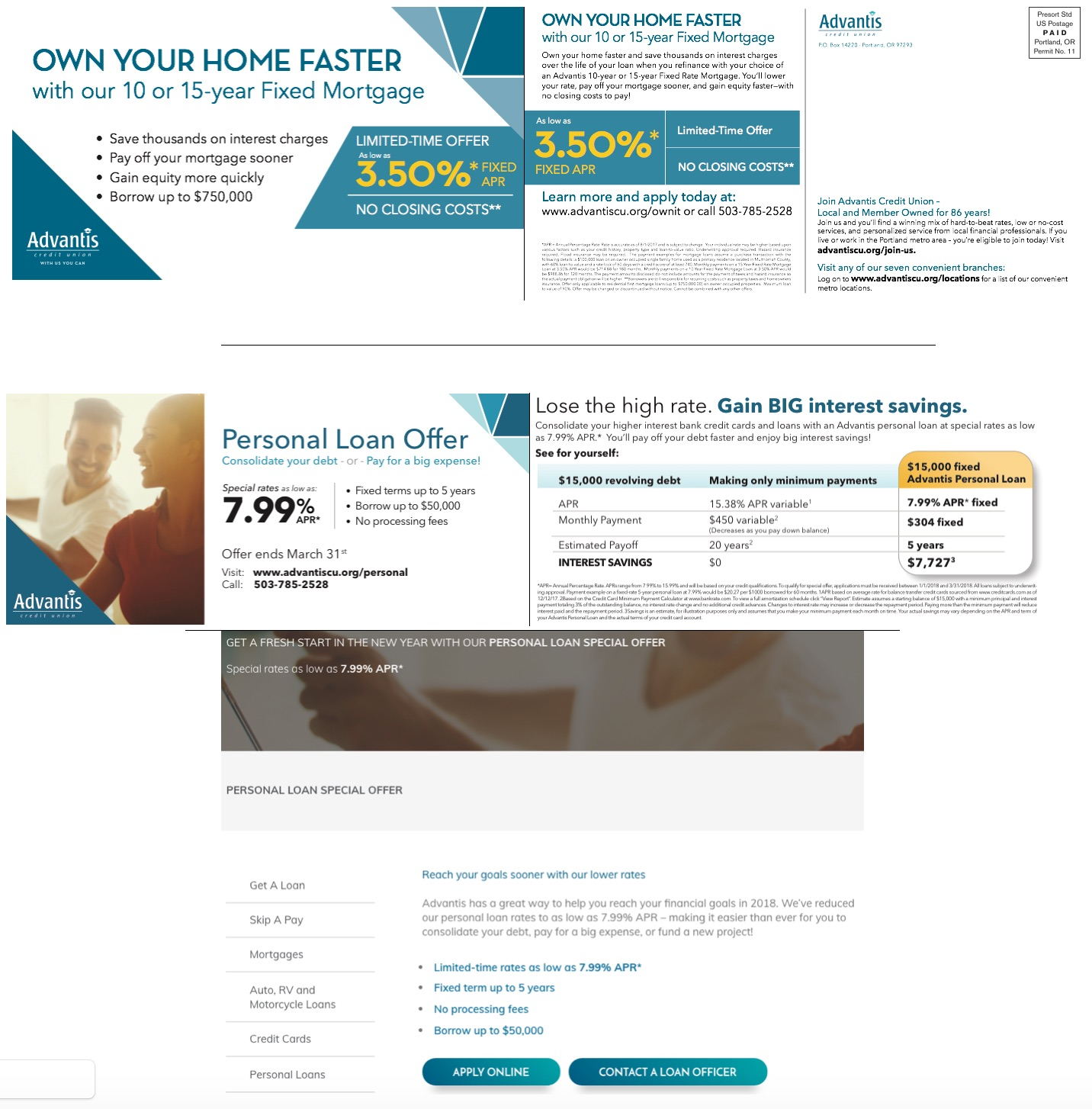 Top:  10- or 15-Year Fixed Mortgage mailer front & back.  Download this asset.   Middle:  Personal Loan statement stuffer. Download this asset.   Bottom:  Excerpt of Personal Loan Offer landing page.  Download this asset.