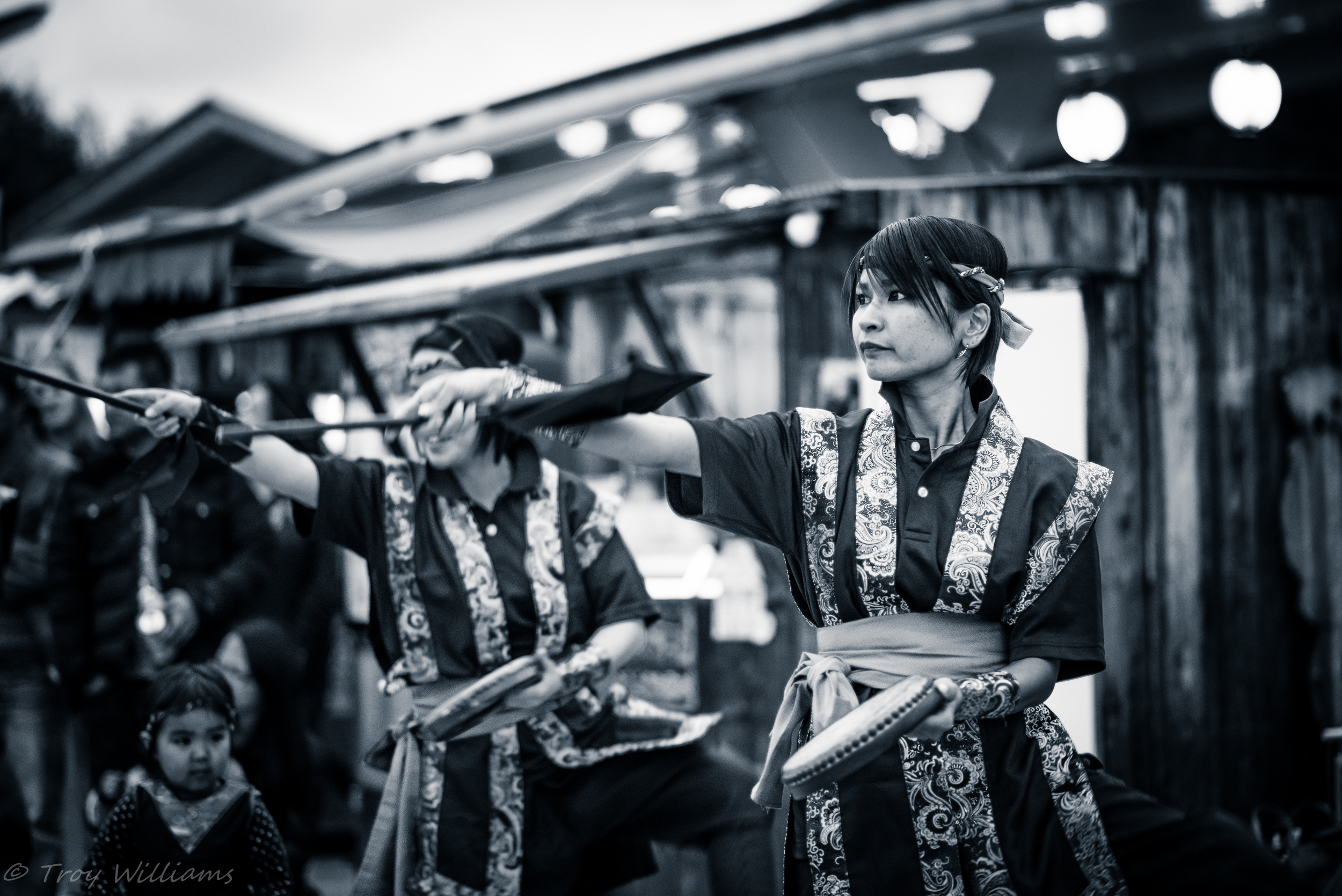 The Eisa dance is a traditional Okinawan dance.  It's accompanied by the calming strums of the Sanshin and Taiko drums.  A beautiful mix of music and color.  This photo was snapped at Nakijin Castle in the northern part of Okinawa.