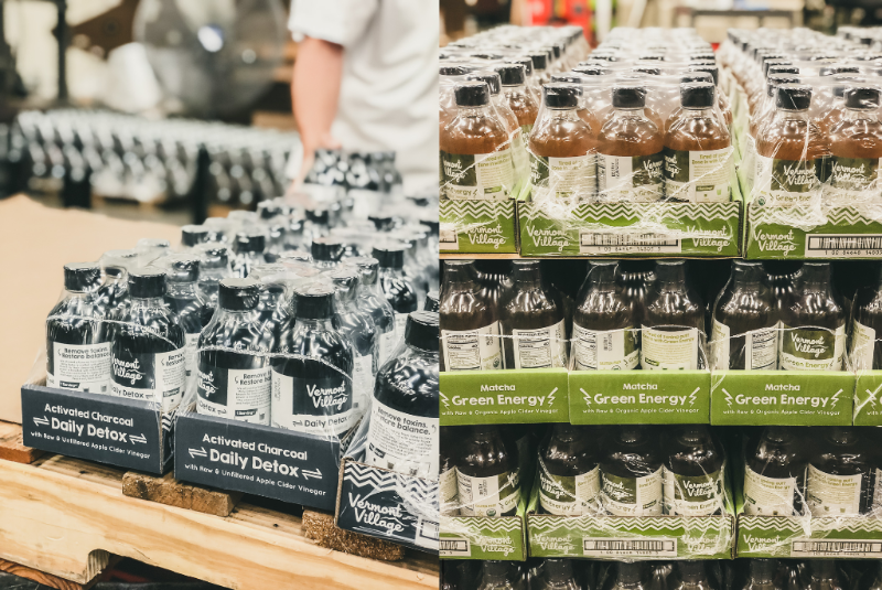 Our vinegar line in Northfield, Vermont has been churning out our new products, Daily Detox with Activated Charcoal and Green Energy with Matcha.