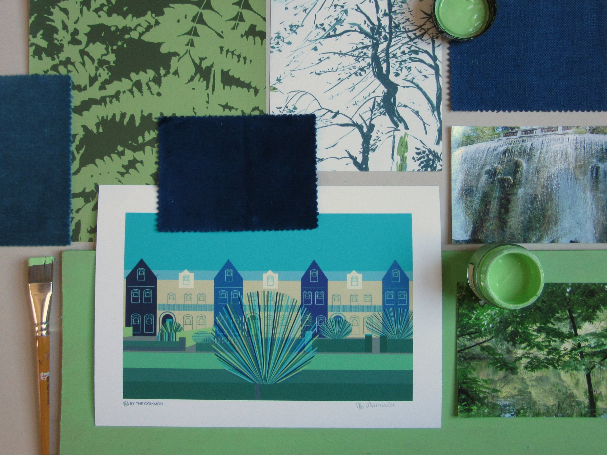 Forest - Inspired by Little Greene's Pthalo Green. Deep moody greens and blues balanced by a splash of bright green and warm stone.