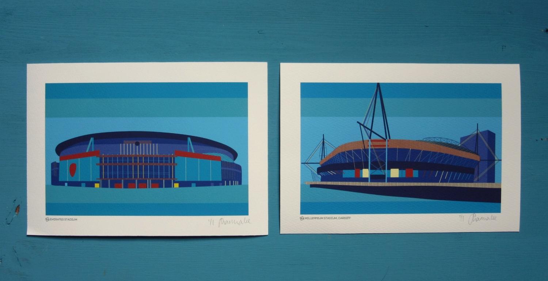 A bespoke commission of Cardiff's Millenium Stadium, to match a customised Emirates stadium -