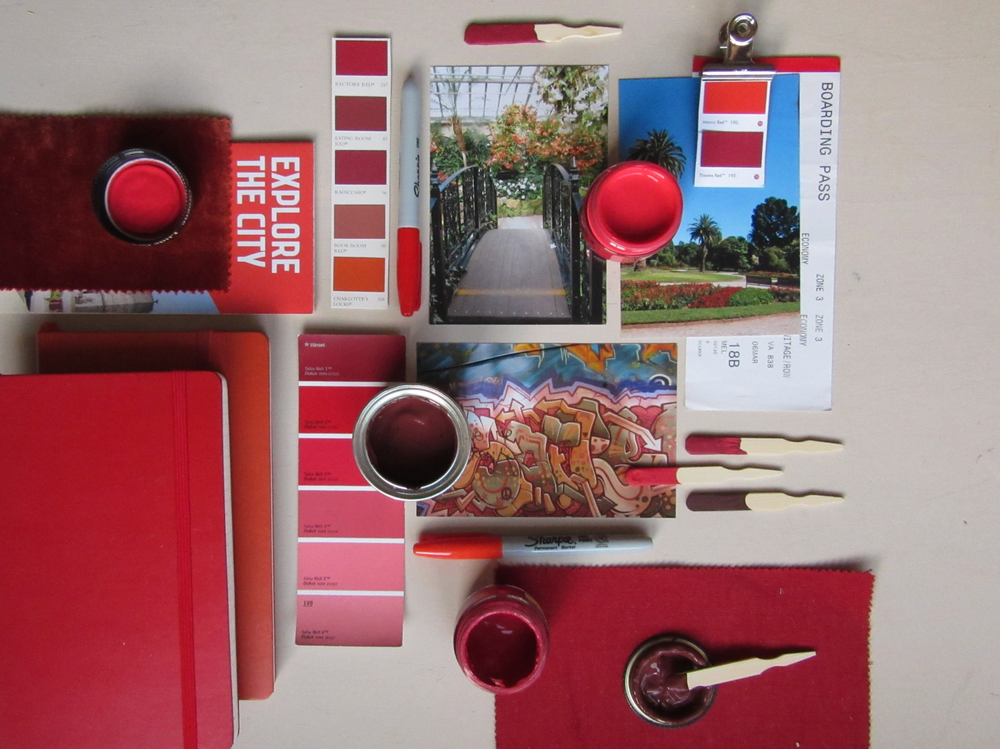 Melbourne reds - Paint pot colours: Little Greene Cape Red; Paint & Paper Library Georgetown; Little Greene Theatre RedMelbourne Reds pop against the bright blue skies of late summer. From Luna Park in St Kilda to the laneways full of street art, especially Hosier Lane.