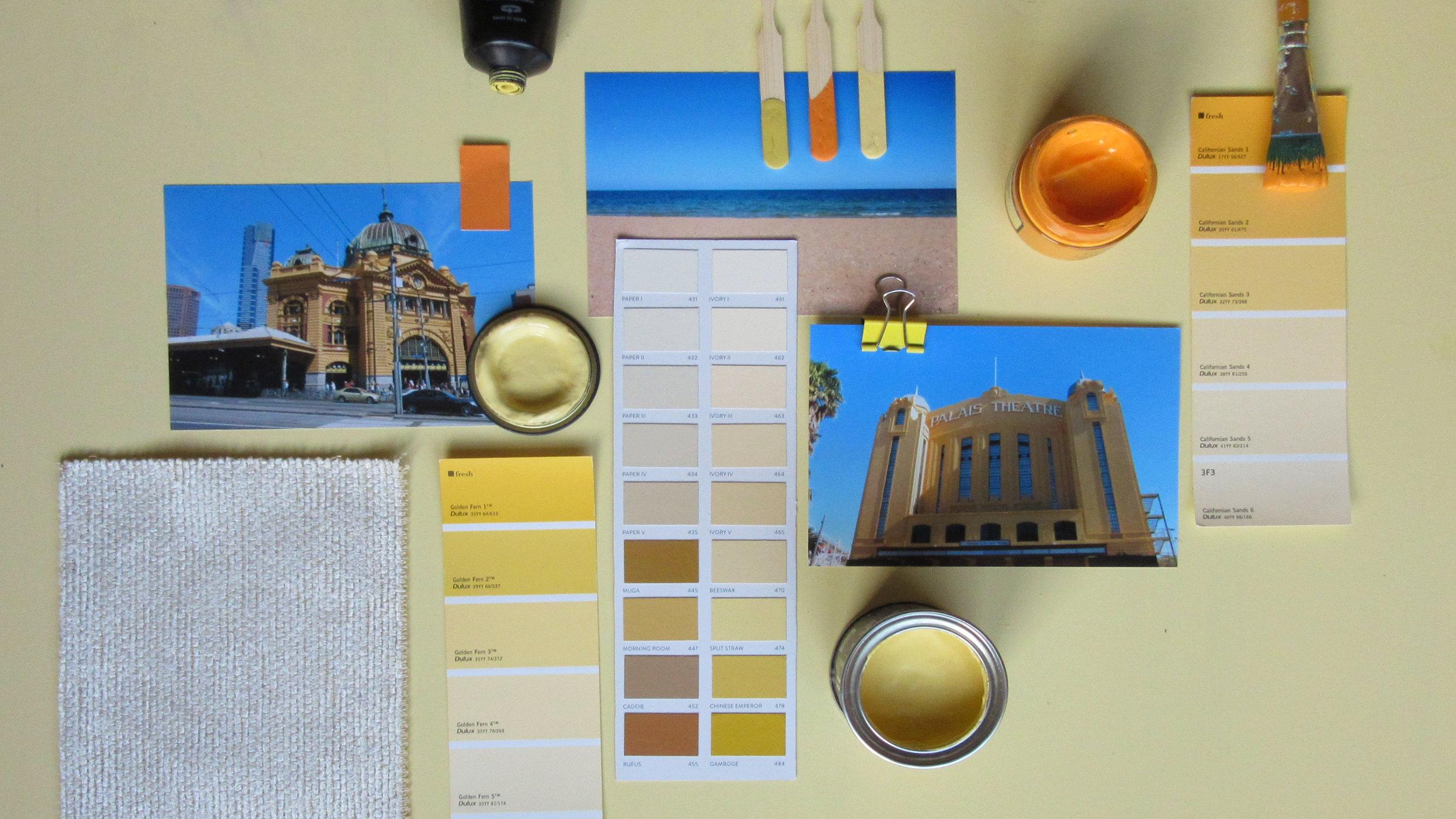 Sunny beach yellows - Paint pot colours: Little Greene Marigold; Paint & Paper Library Split Straw