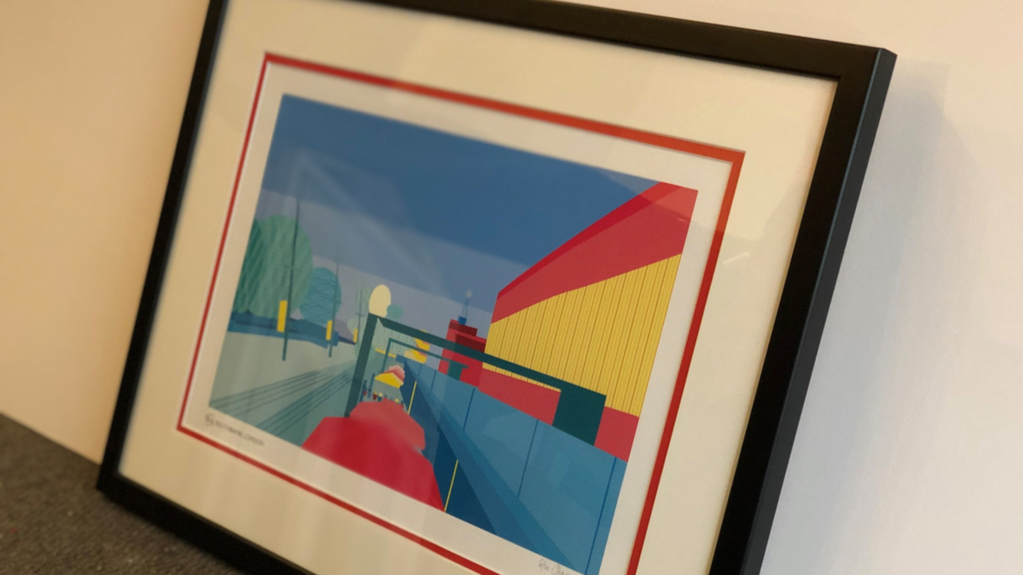 My Southbank, London print framed by Mimi V Artworks using two mounts. That subtle splash of red is just enough to enhance the colours in the print without taking anything away from the art.