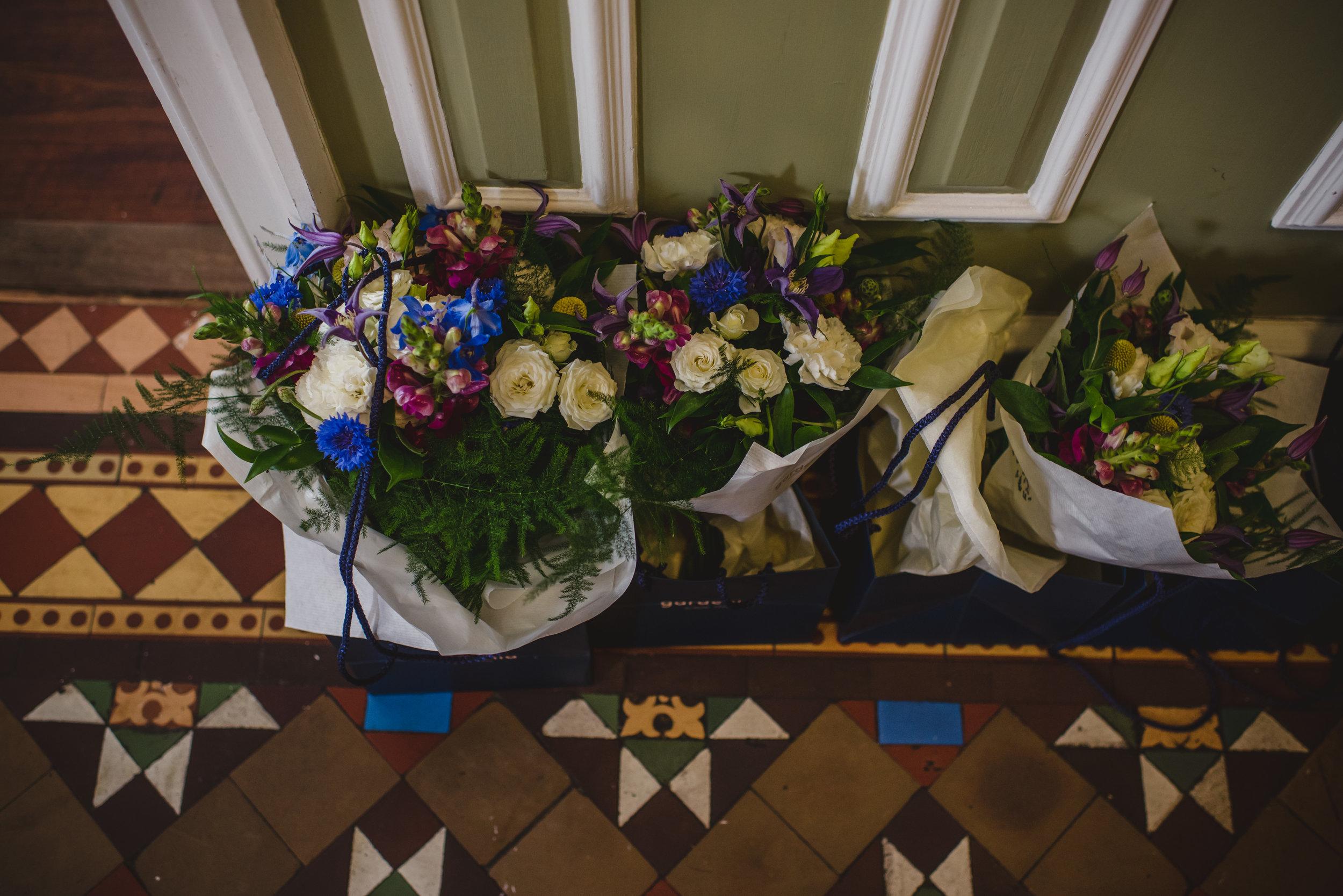 Colourful blue wedding bouquet