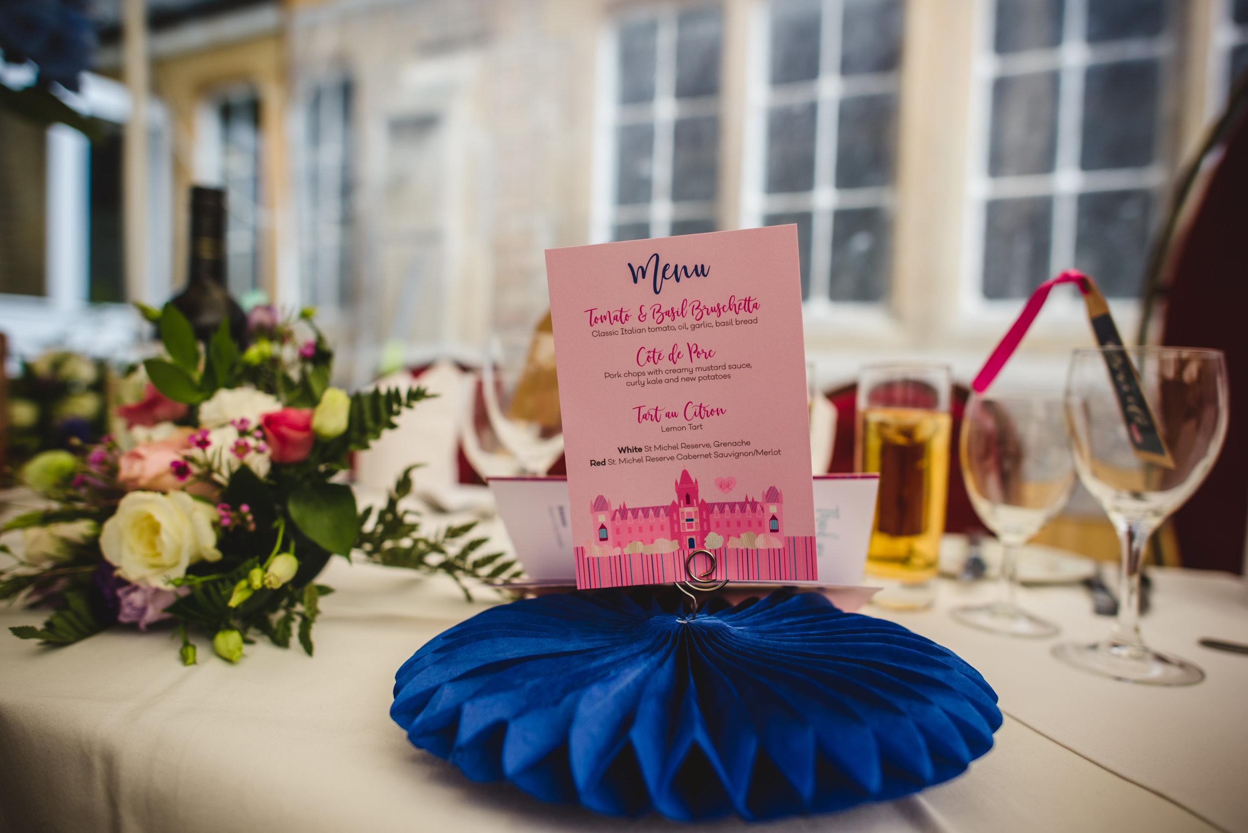Colourful wedding menu by South Island Art