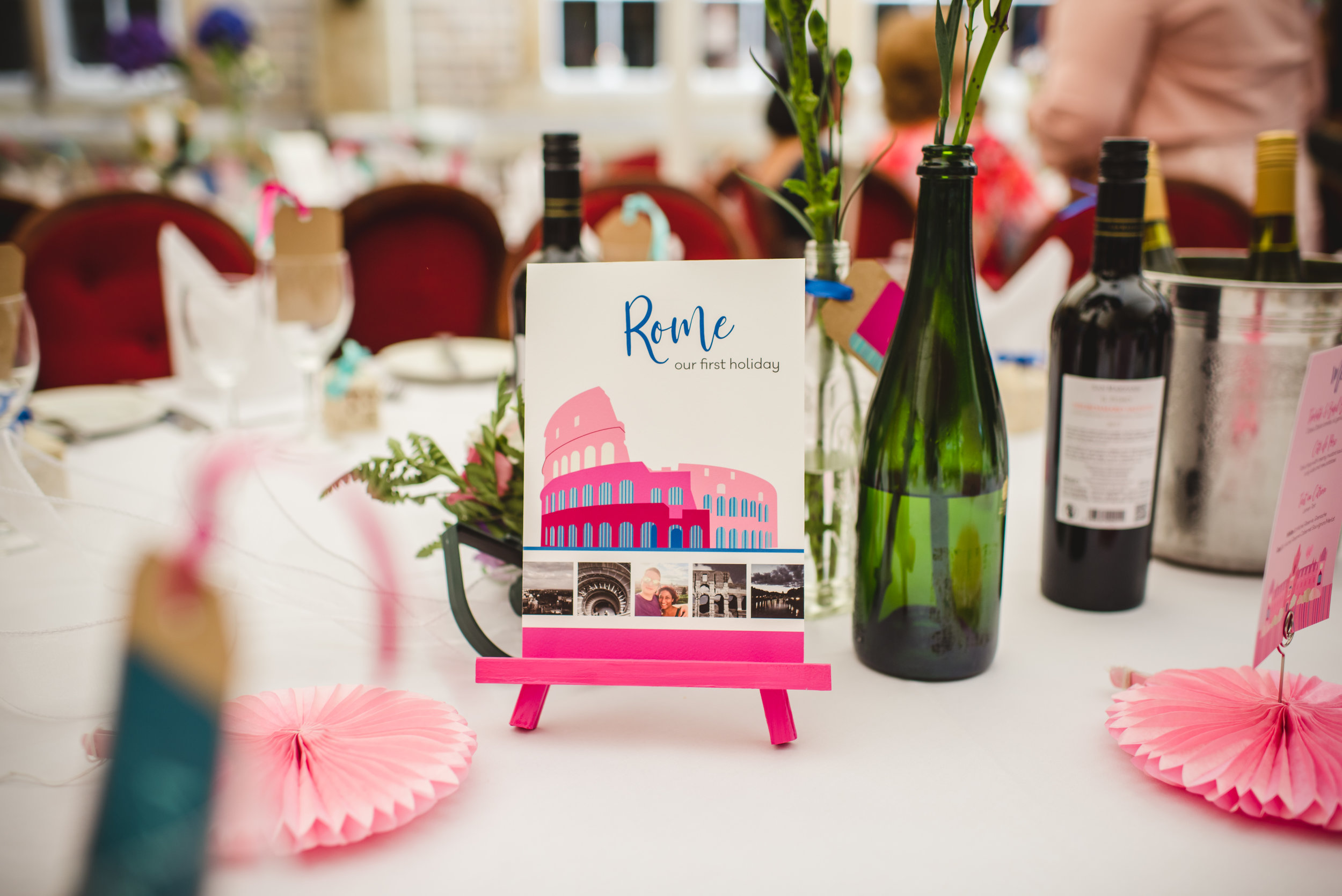 Rome wedding table illustration by South Island Art