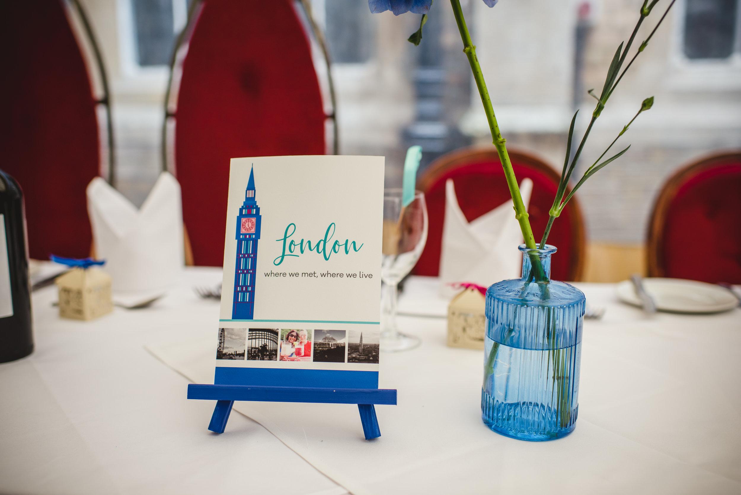 London wedding table illustration by South Island Art