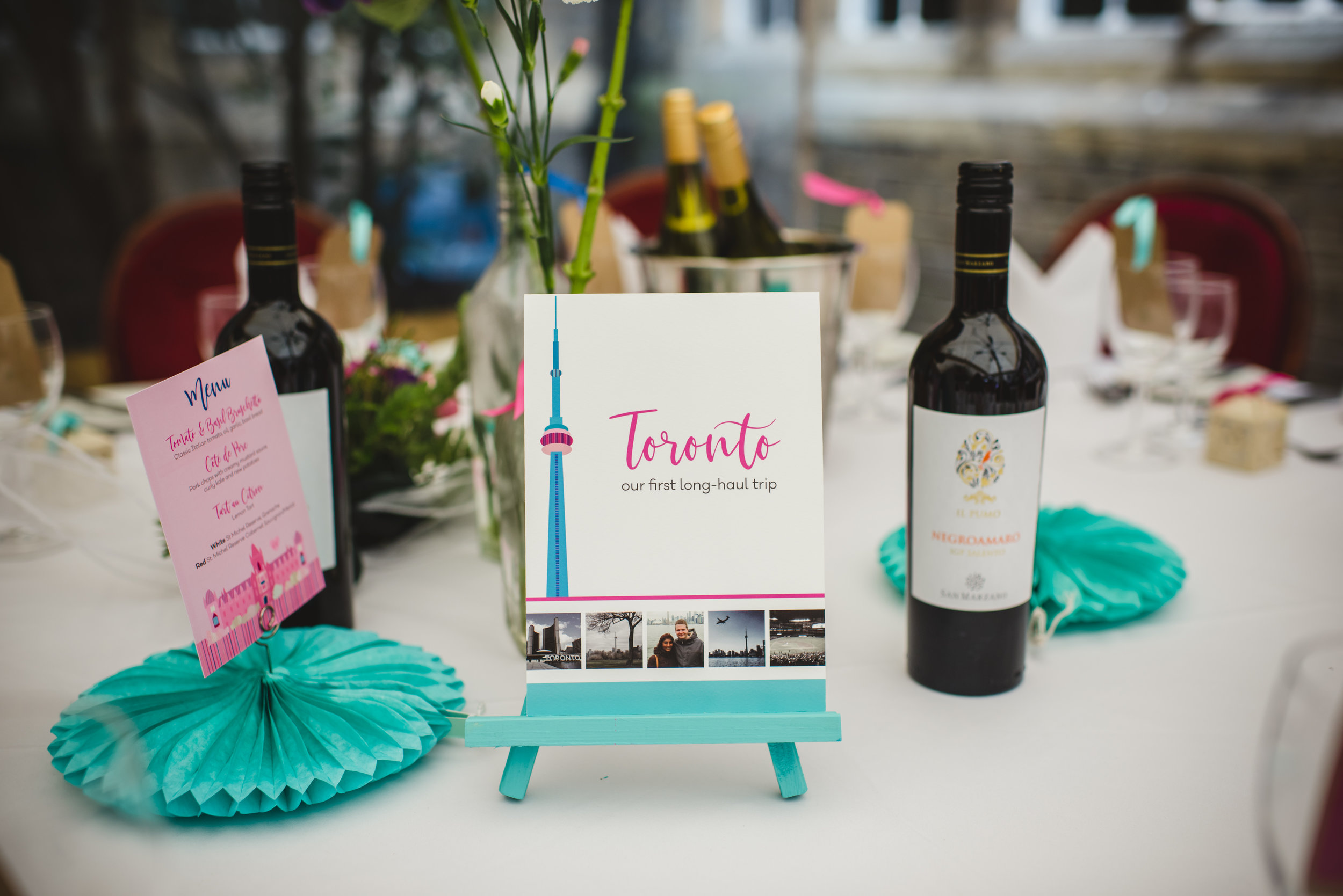 Travel-themed wedding table name illustrations by South Island Art
