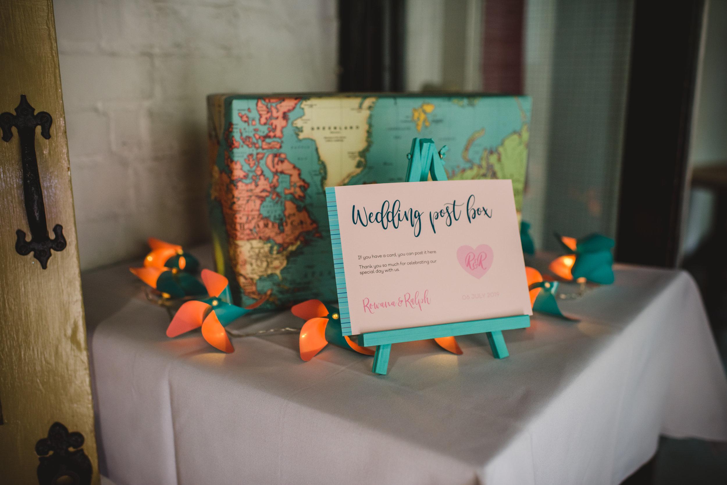 Travel-themed wedding card box