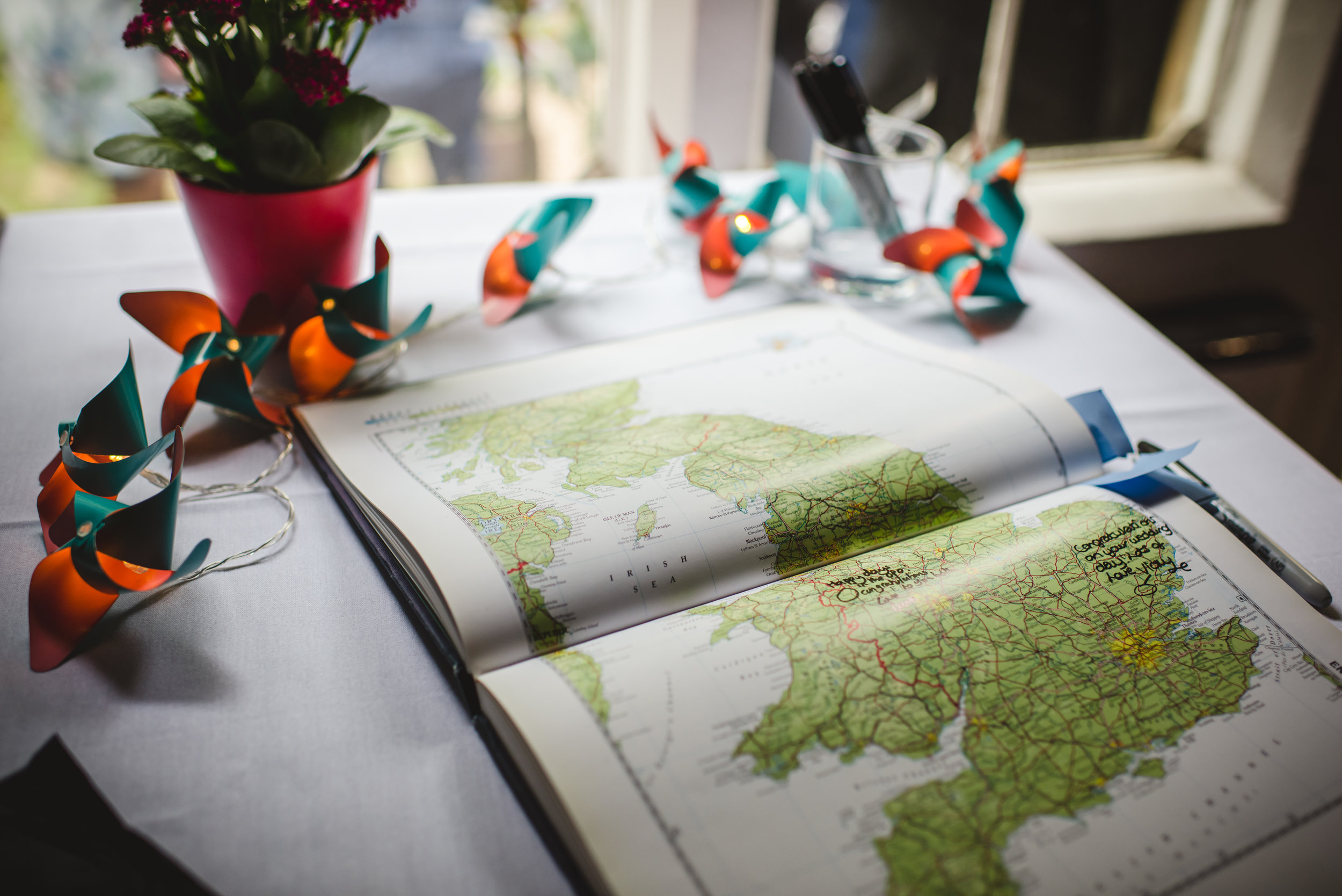 Travel-themed wedding guest book