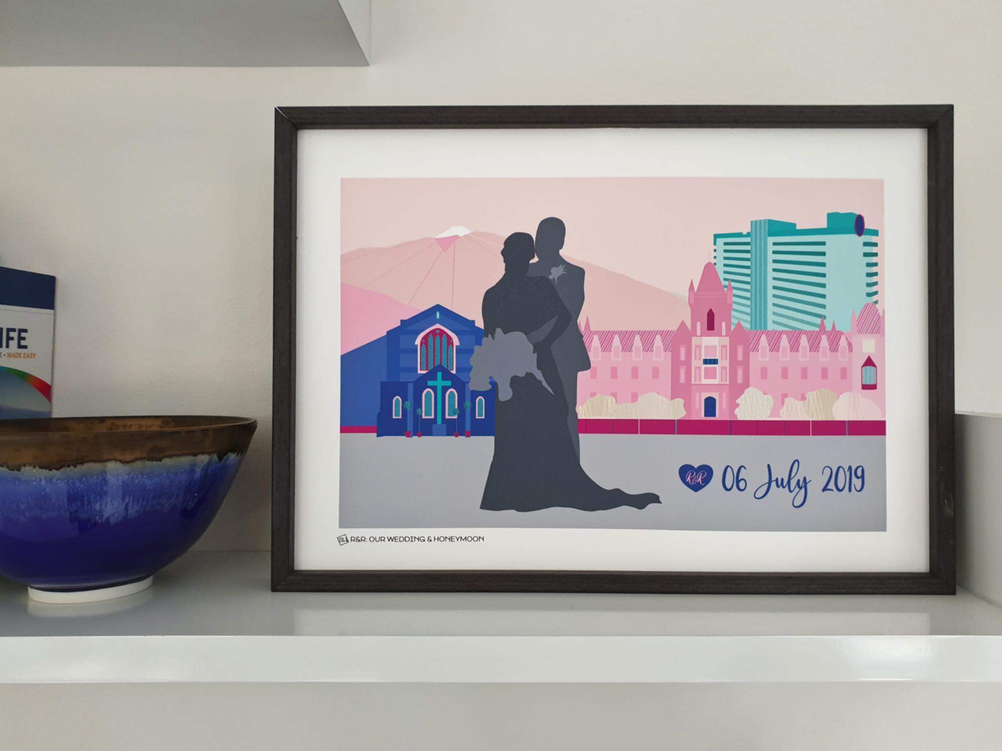 Wedding Venue Skyline art print by  South Island Art