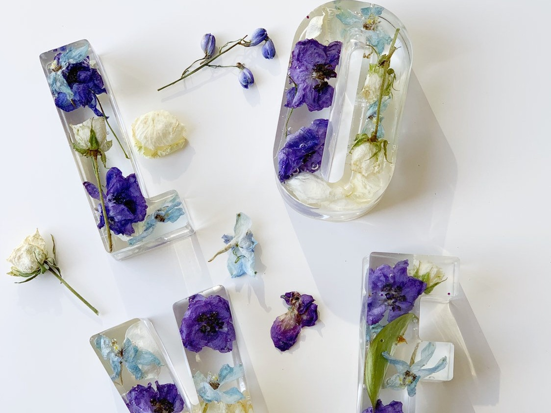 Wedding bouquets as paperweights by  Enchanted Resin